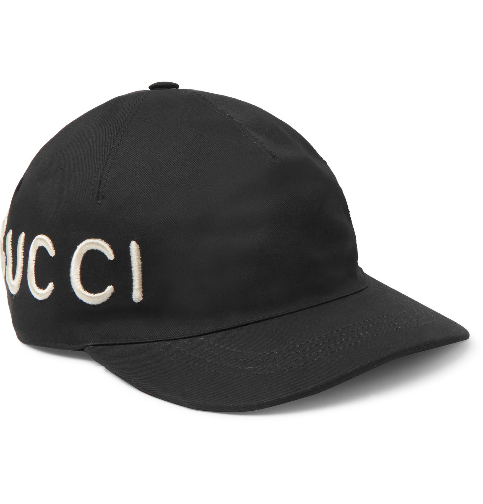 cfc9348d9d8b Lyst - Gucci Embroidered Cotton-twill Baseball Cap in Black for Men
