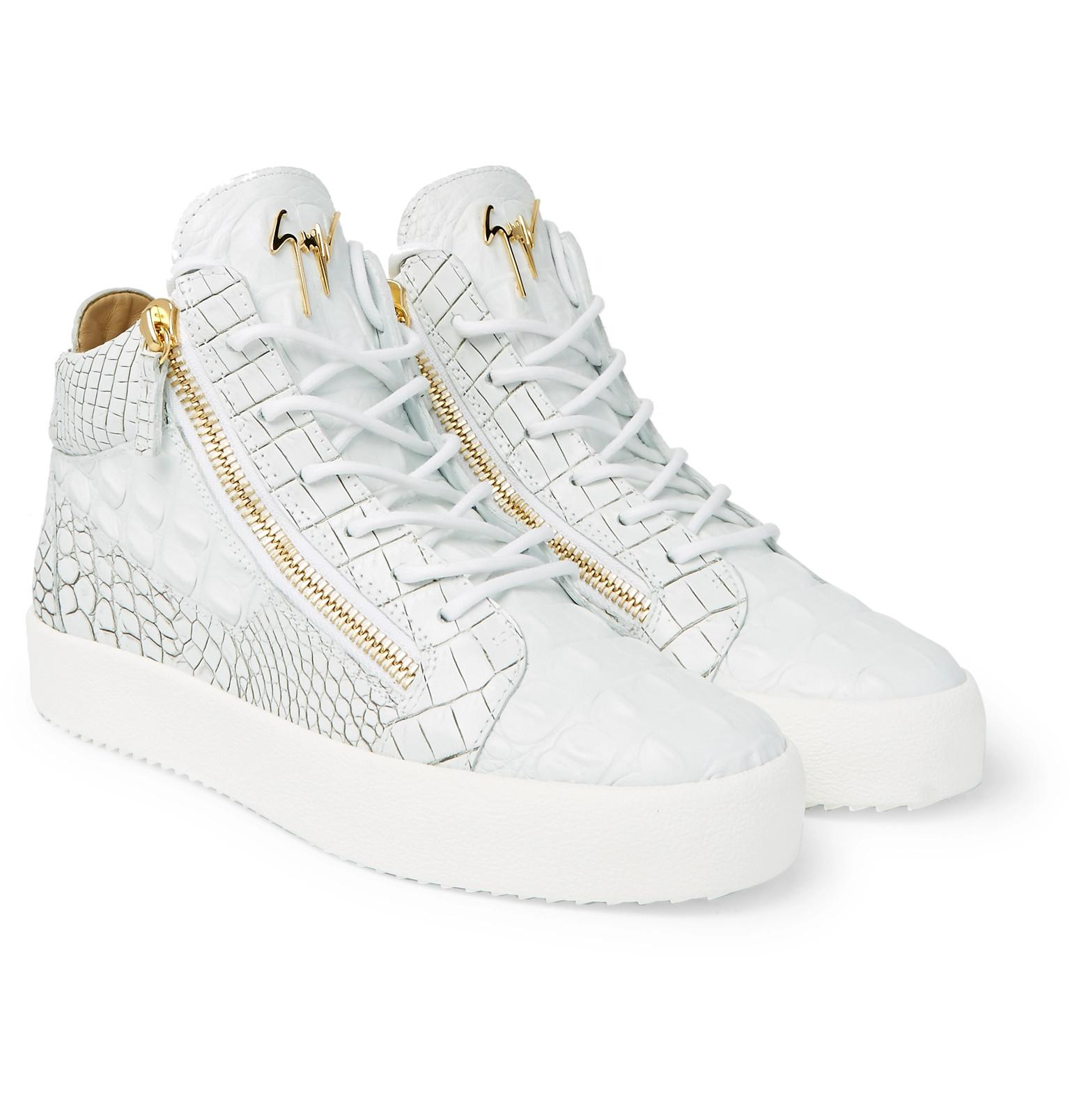 35a3c863d7ec5 Giuseppe Zanotti Logoball Croc-effect Leather High-top Sneakers in ...
