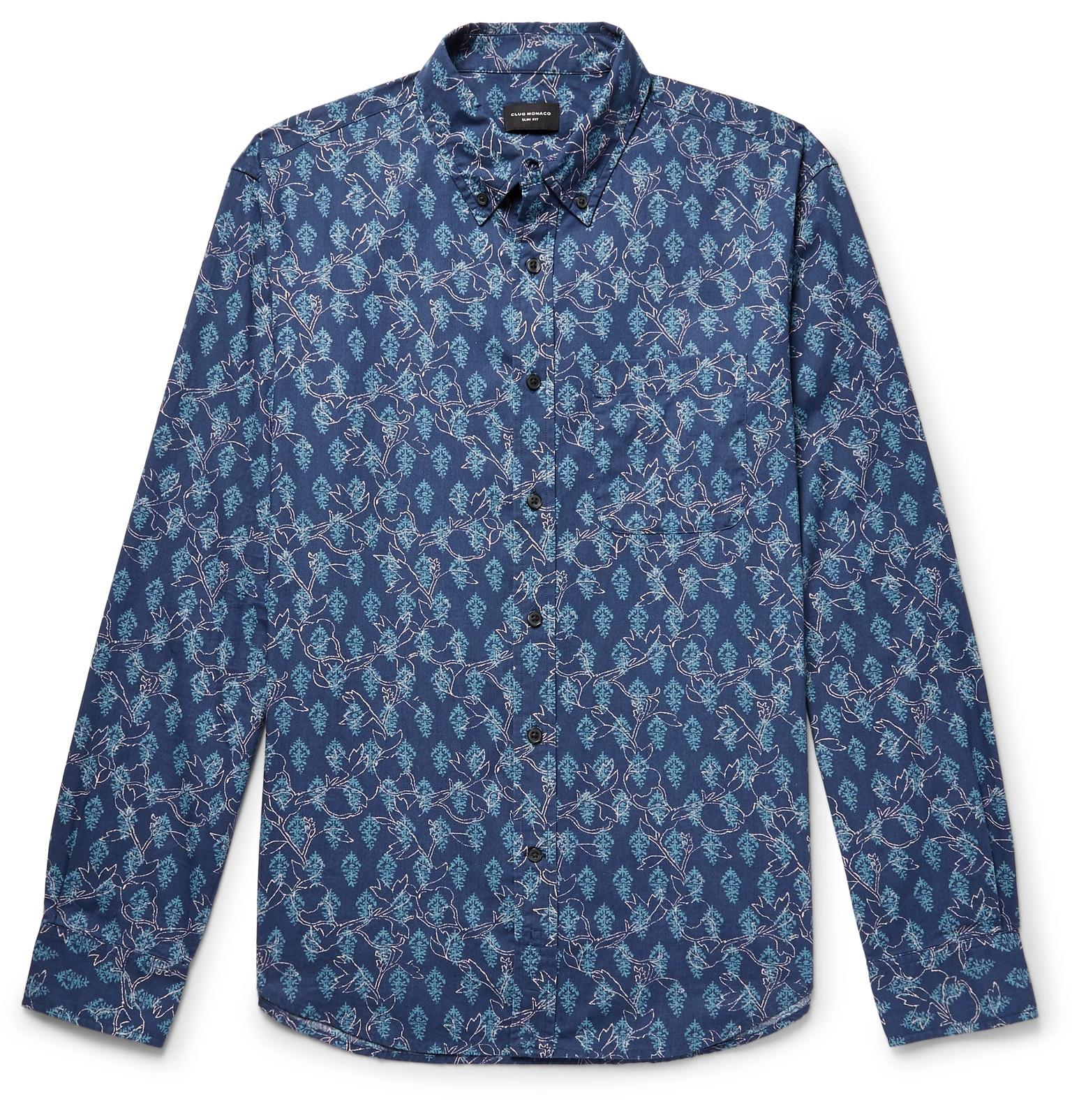 0b0316eb671 Club Monaco Slim-fit Button-down Collar Printed Cotton Shirt in Blue ...