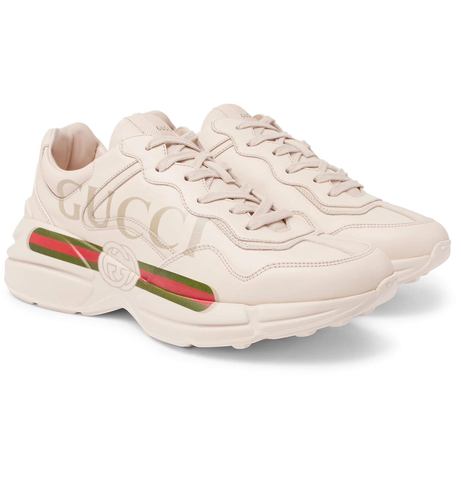 d7f36428a22 Gucci White Rhyton Oversized Leather Sneakers in White for Men ...