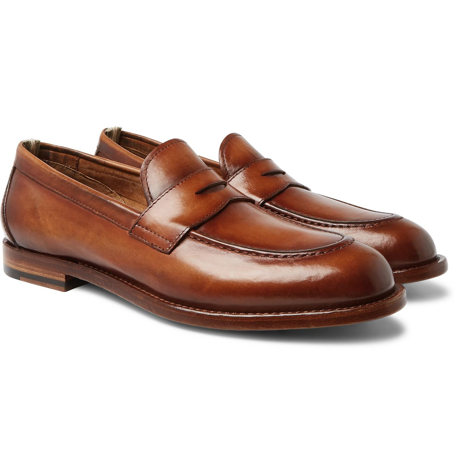 24e5e9eb973 Lyst - Officine Creative Ivy Polished-leather Penny Loafers in Brown ...
