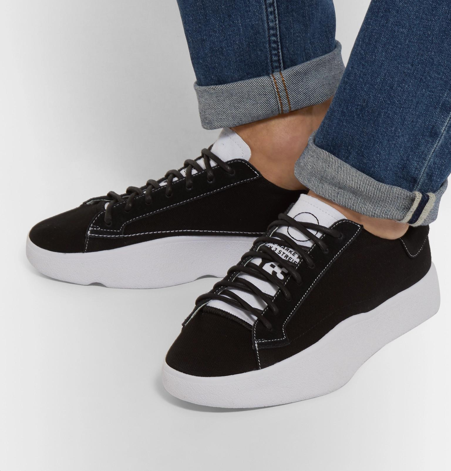 8d4396988 Y-3 Tangutsu Suede-trimmed Canvas Sneakers in Black for Men - Lyst