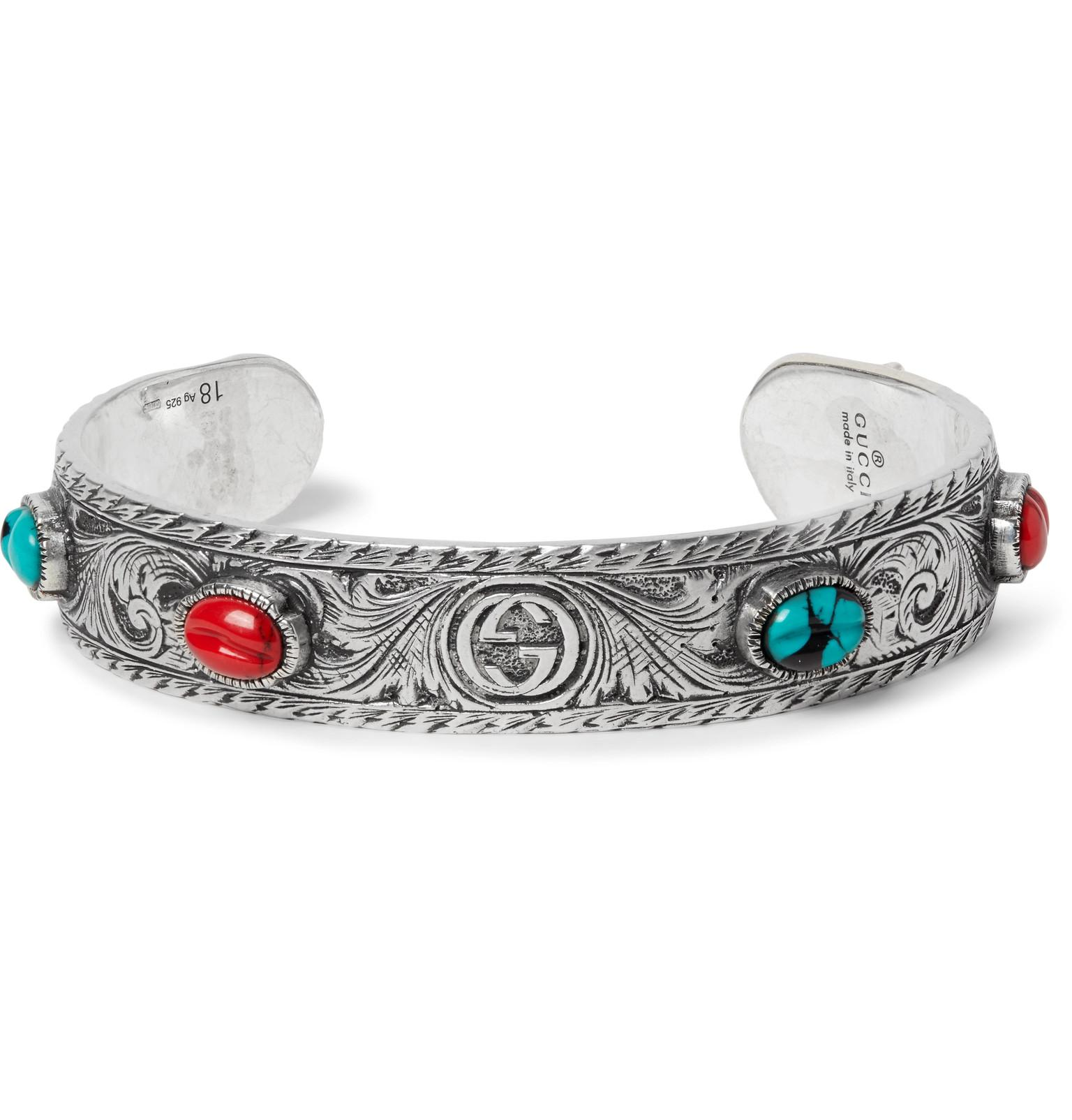 07263cf670d Gucci Tiger Head Sterling Silver Turquoise Cuff in Metallic for Men ...