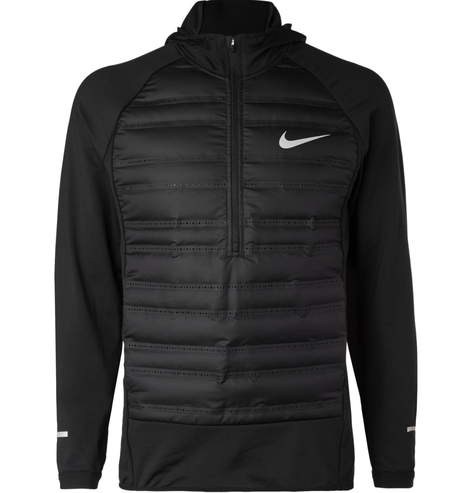 nike aeroloft quilted shell and jersey hooded half zip. Black Bedroom Furniture Sets. Home Design Ideas