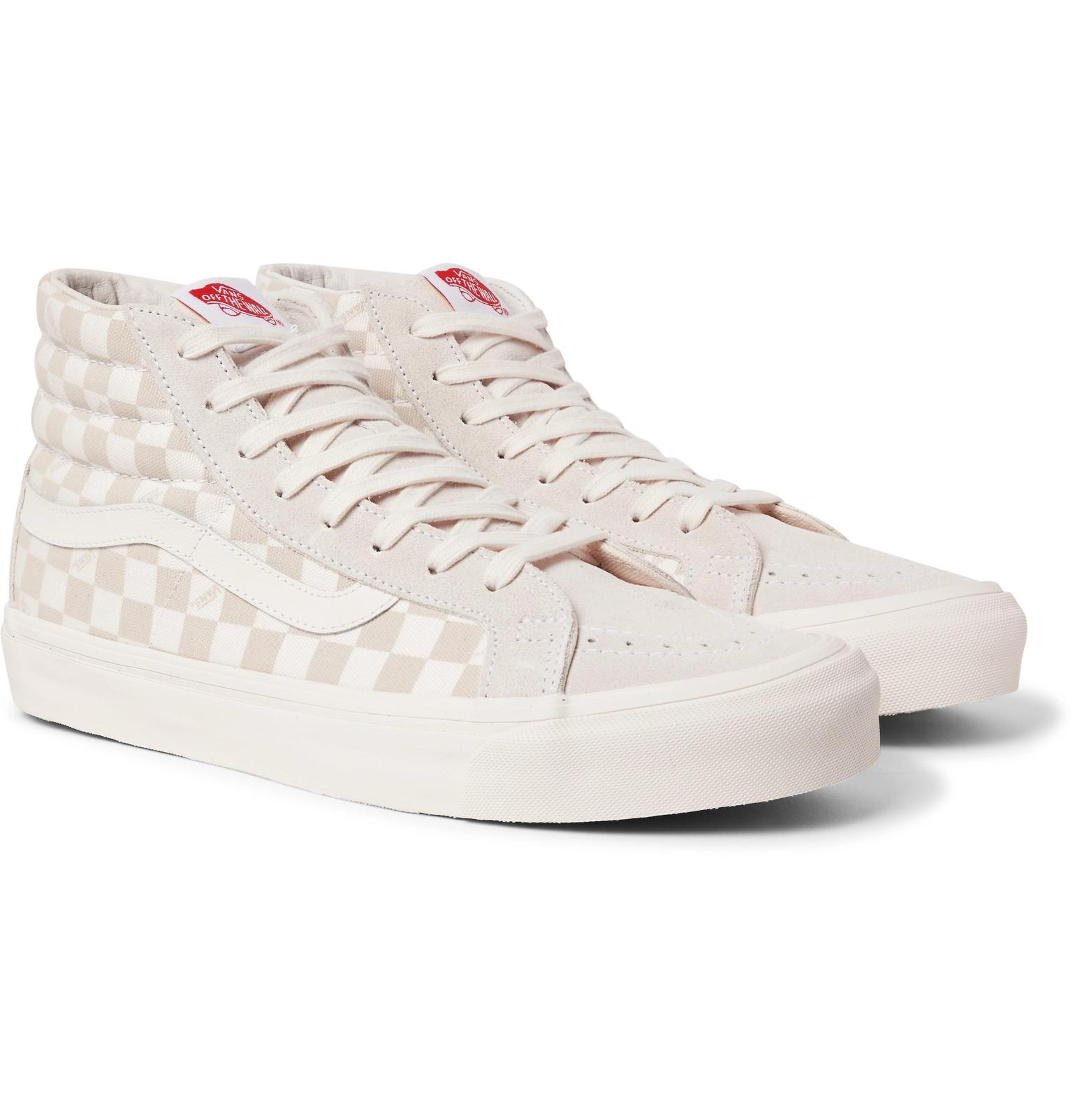 319161d289ce Lyst - Vans Beige Sk8-hi Lx Checkerboard Leather And Canvas High-top ...