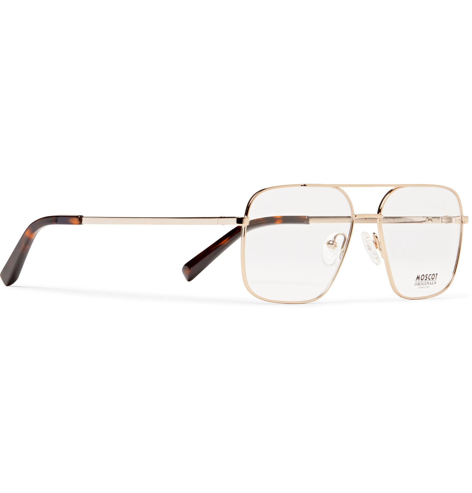 e1ed20551417 Moscot - Metallic Shtarker Aviator-style Gold-tone Optical Glasses for Men  - Lyst. View fullscreen