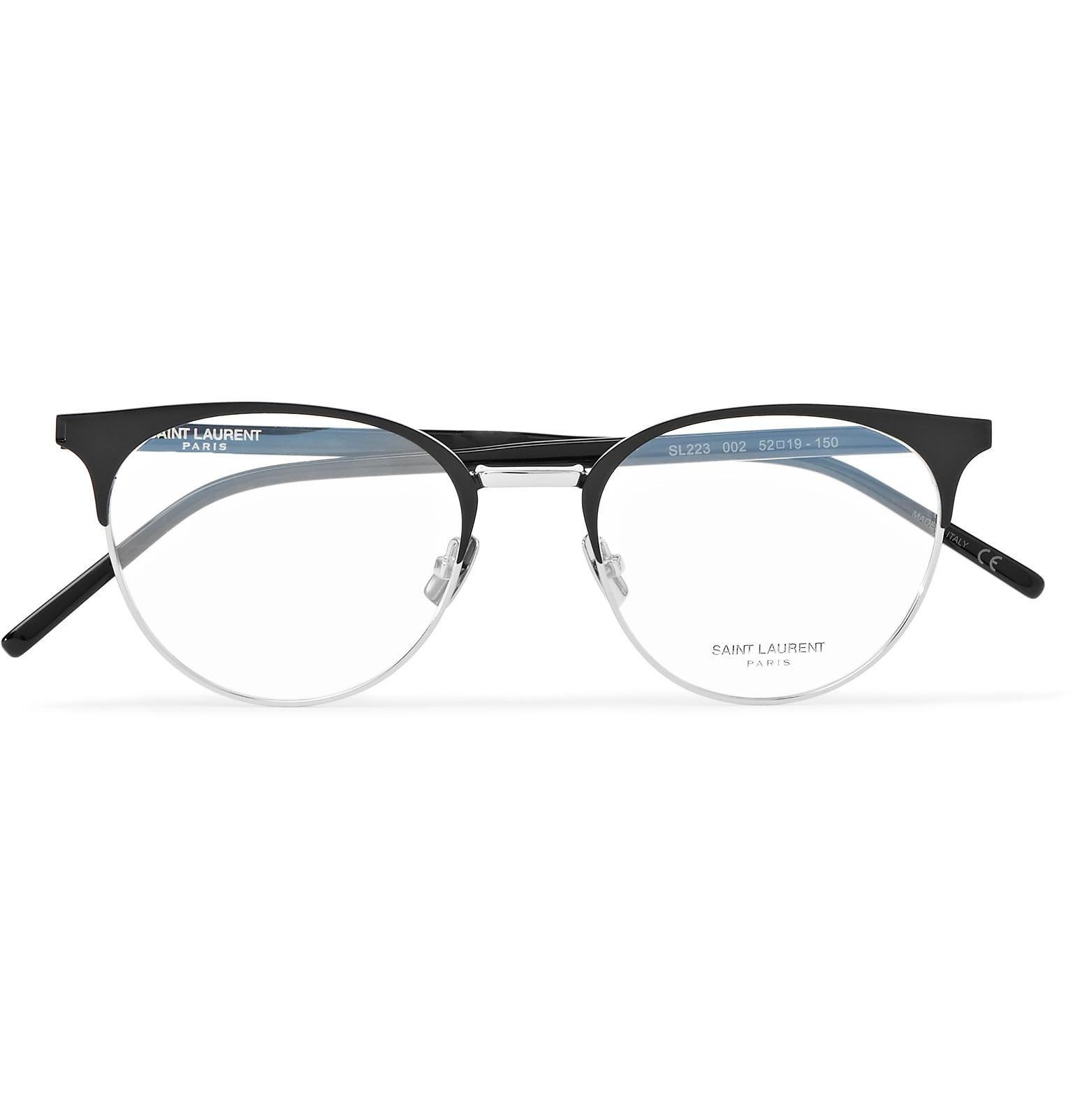 92102aee68e2 Saint Laurent Round-frame Acetate And Silver-tone Optical Glasses in ...