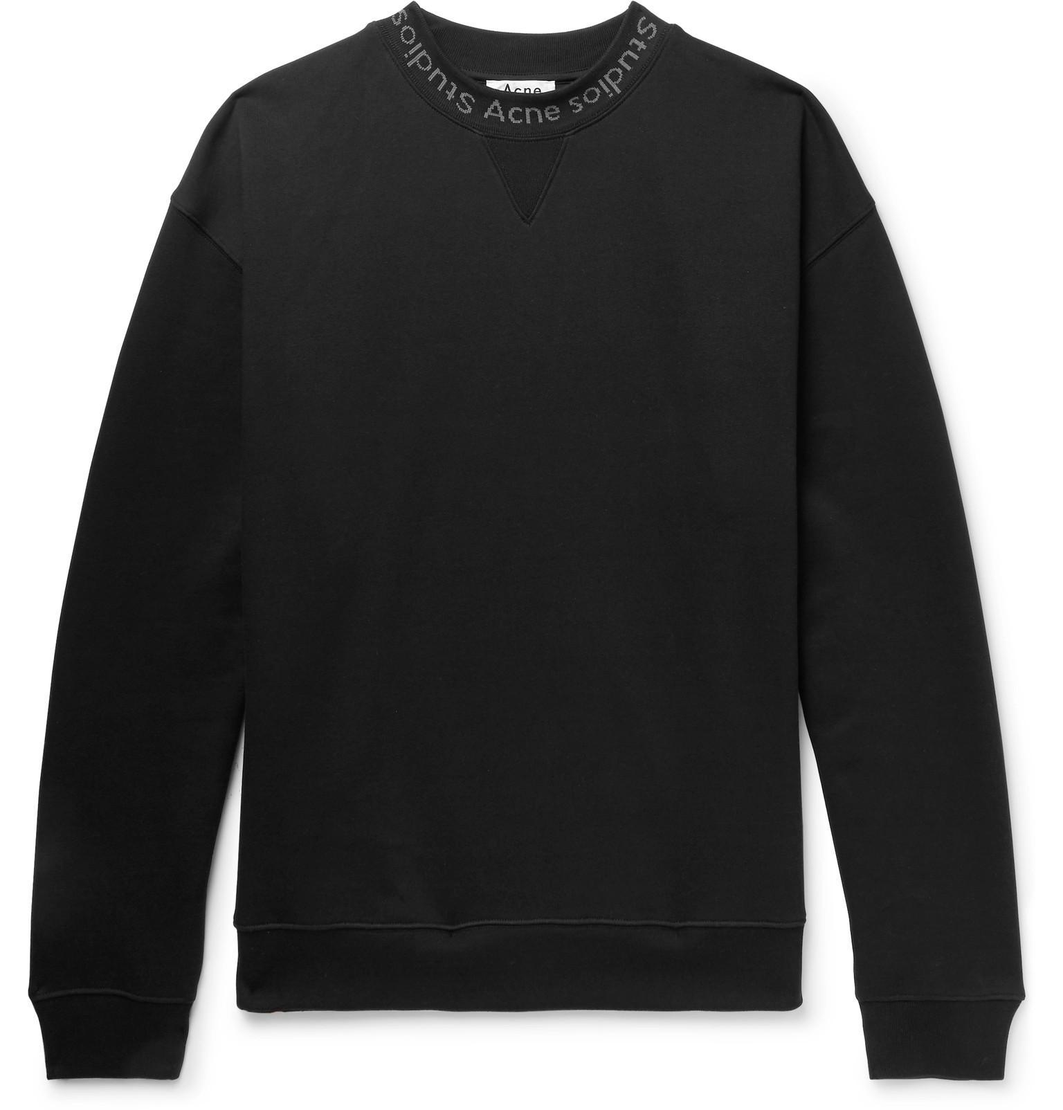 Studios Print Black Fleece Back Jersey Sweatshirt Flogho Logo Men's Acne Cotton FqUfOq