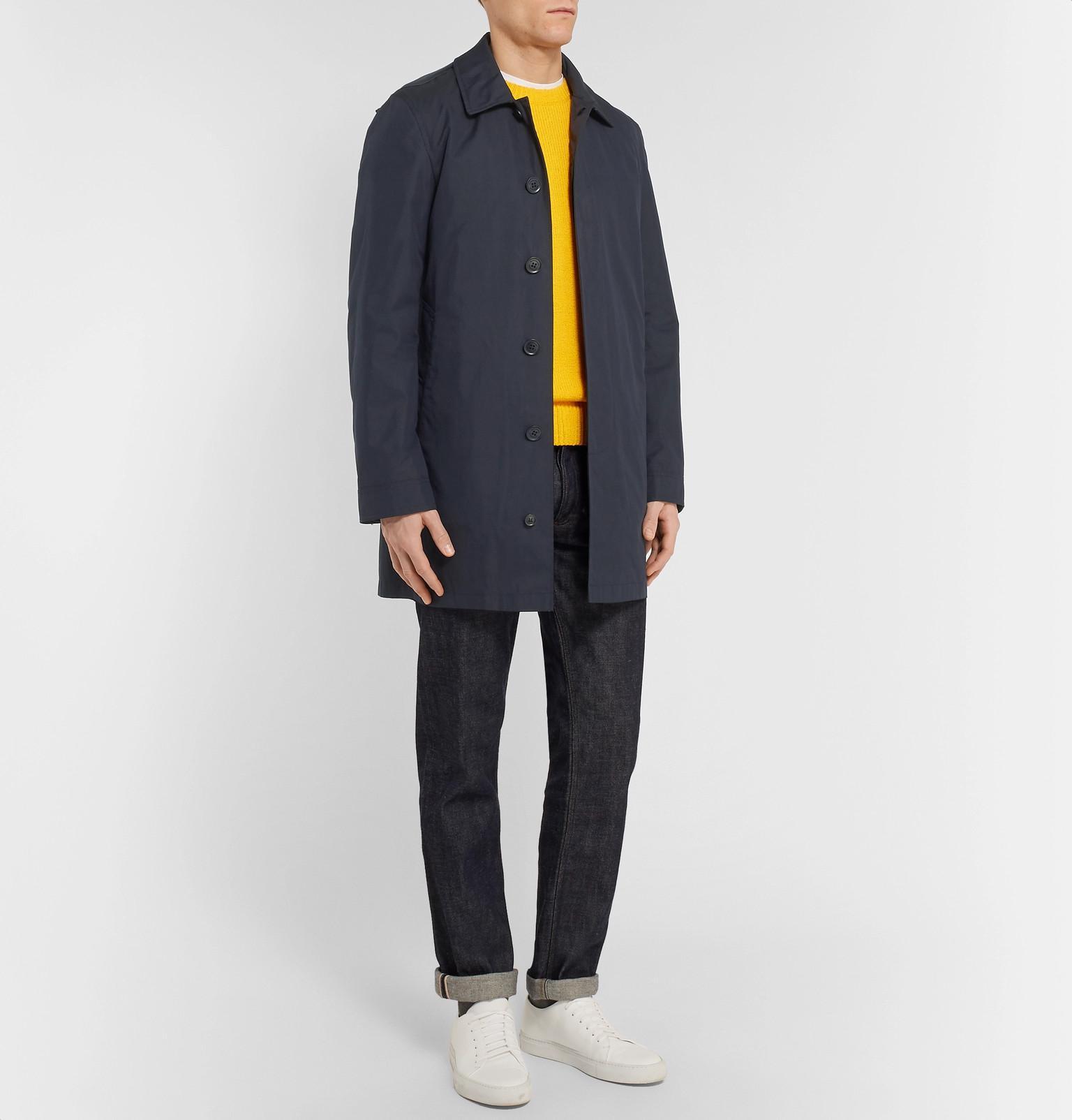 Fullscreen Gilet Burberry Detachable Blue Gabardine Men Blend For Coat Lyst Hooded Cotton View With rOwrax4