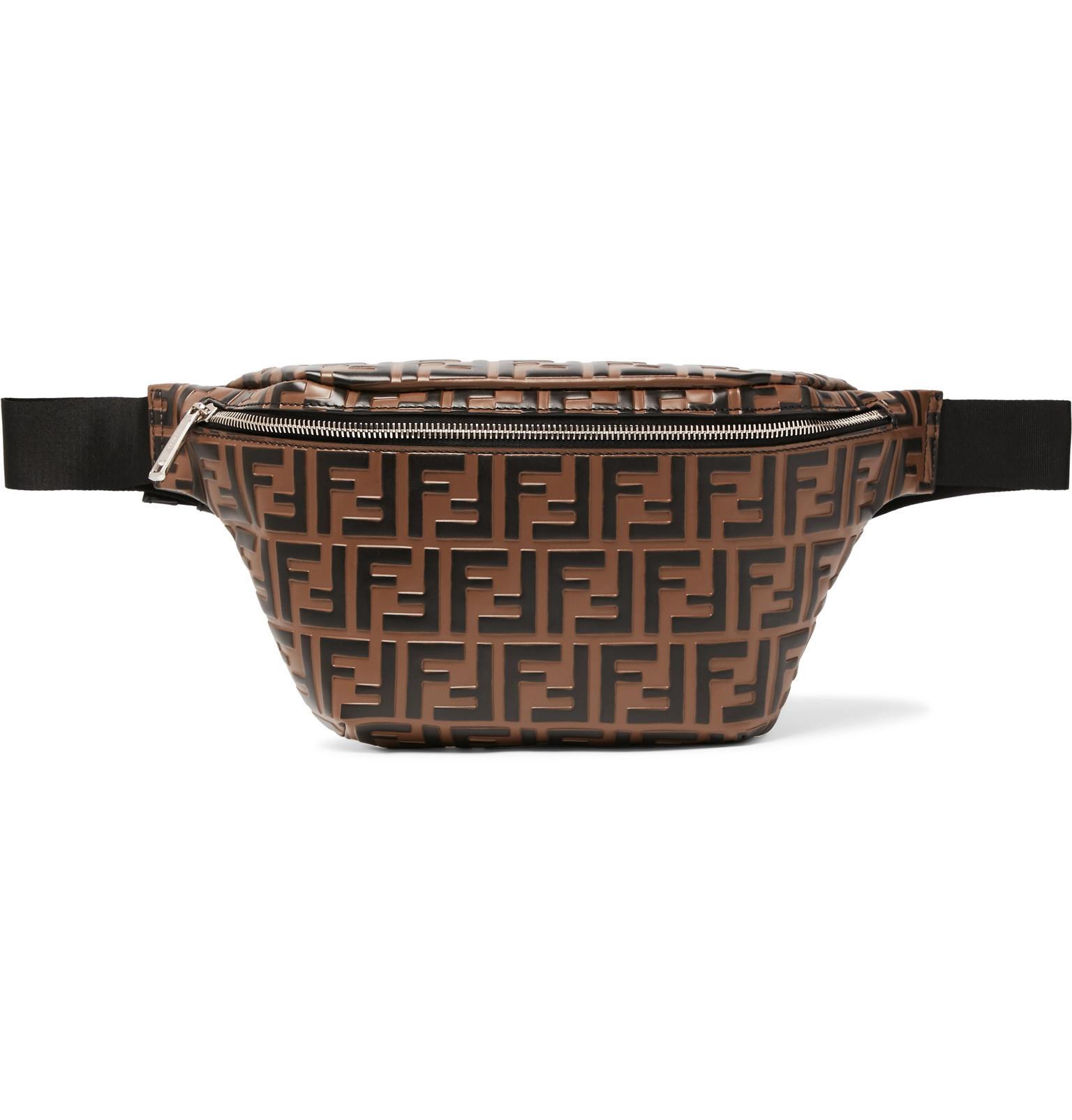 38737355c741 Lyst - Fendi Ff Print Leather Belt Bag in Brown for Men