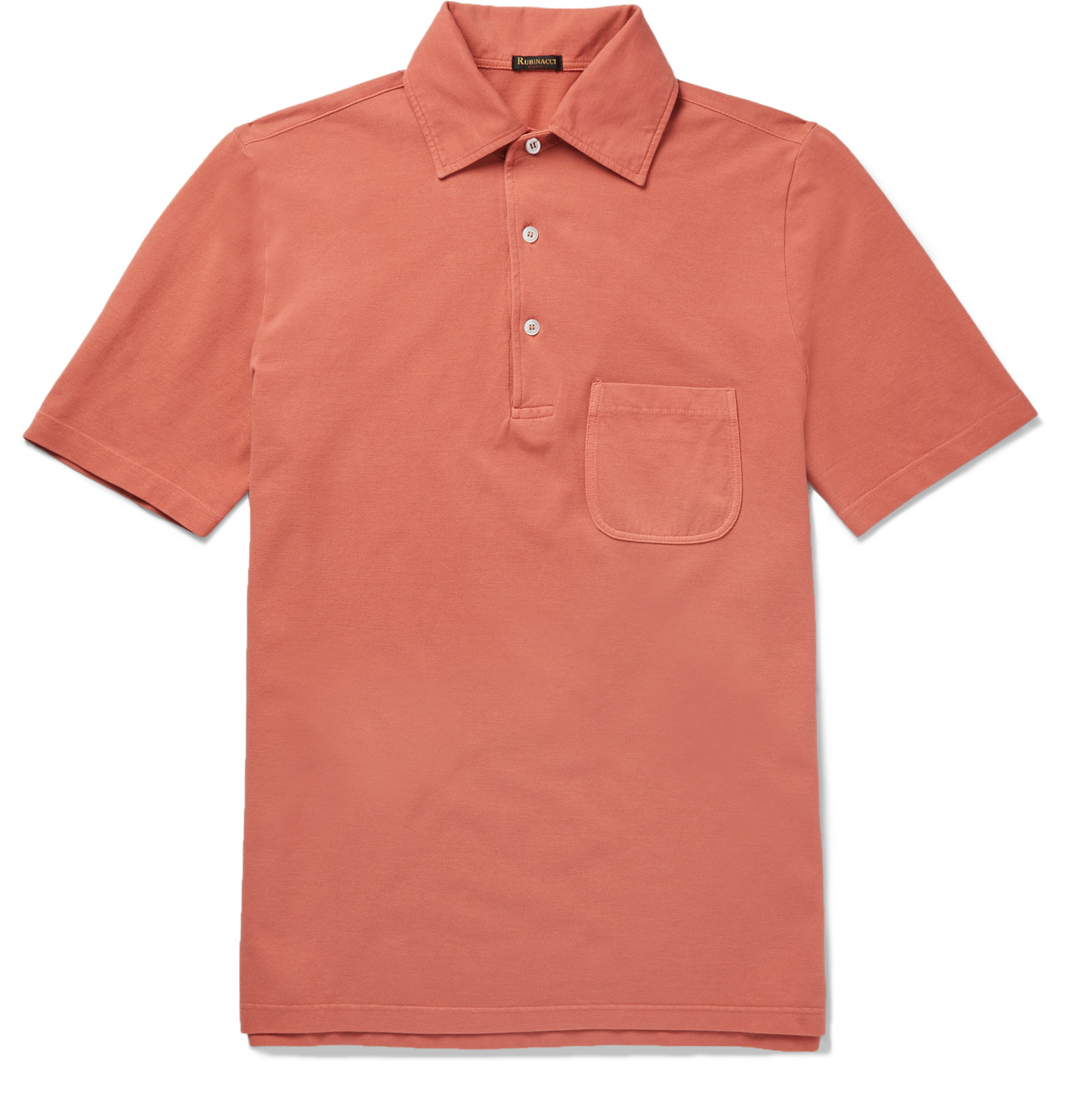 Rubinacci Slim Fit Cotton Piqu Polo Shirt In Orange For