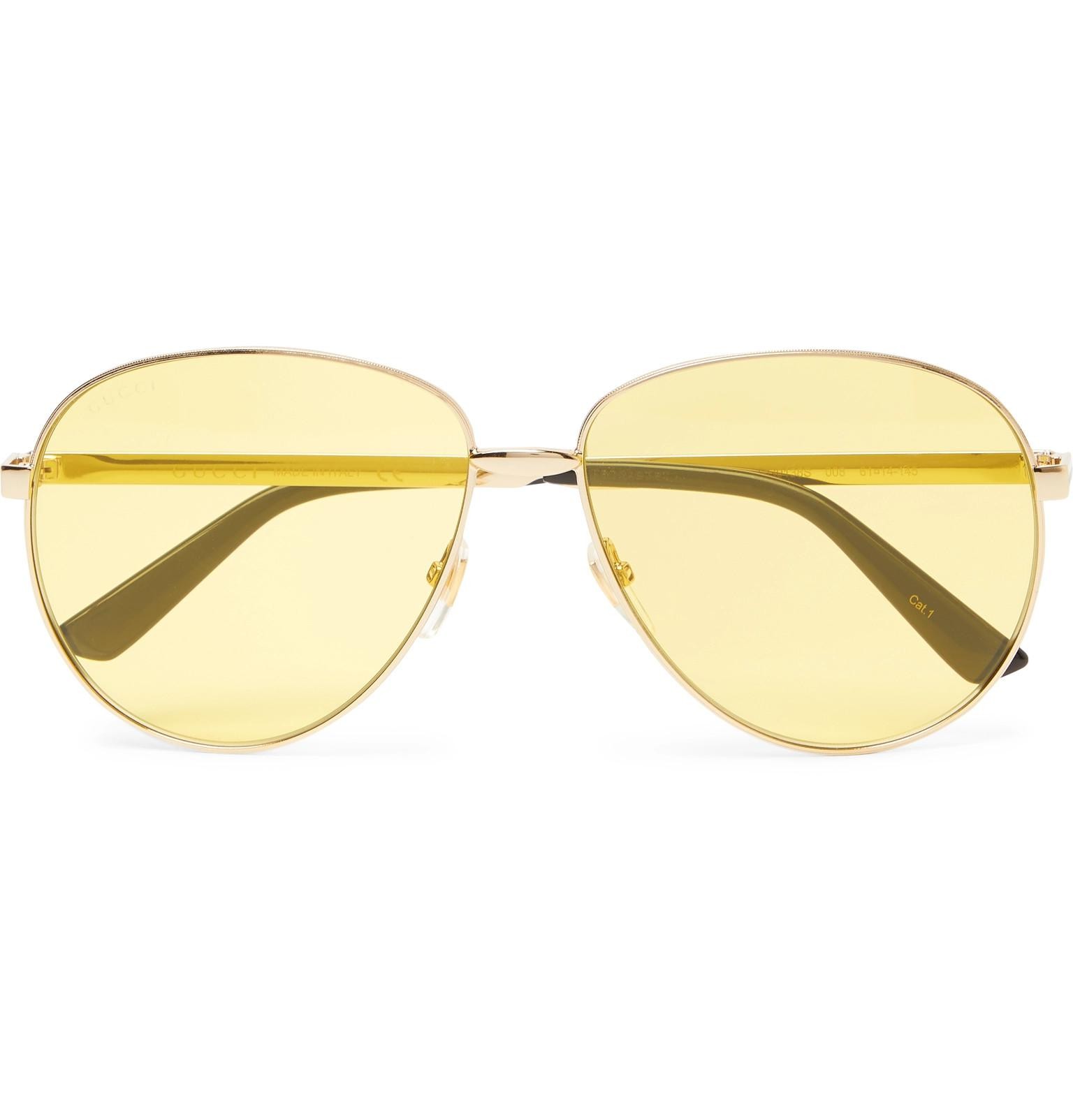 34cbbf17a63 Lyst - Gucci Aviator-style Gold-tone Sunglasses in Metallic for Men