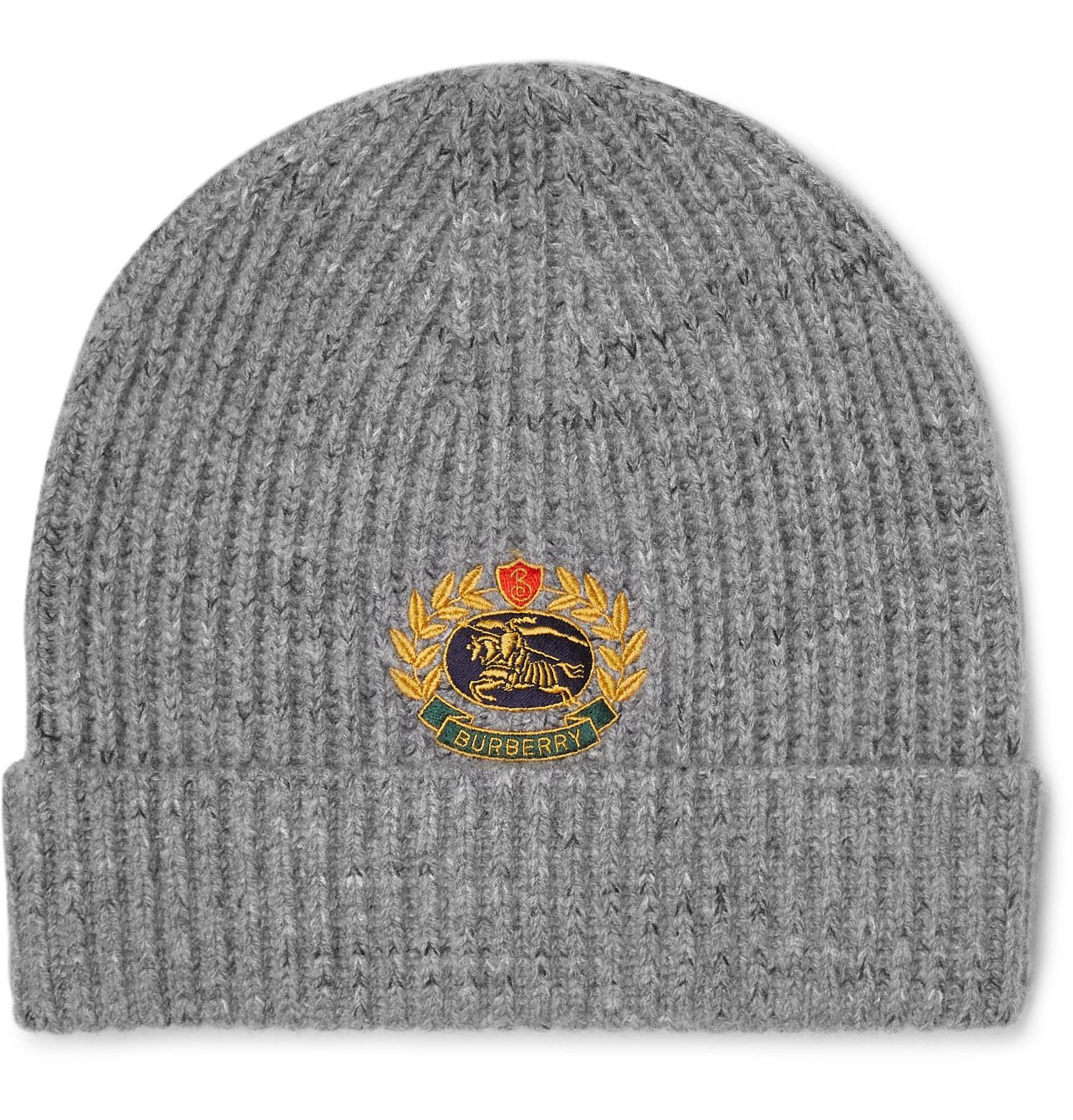 7126a52354f Burberry - Gray Logo Embroidered Wool Blend Beanie Hat for Men - Lyst. View  fullscreen