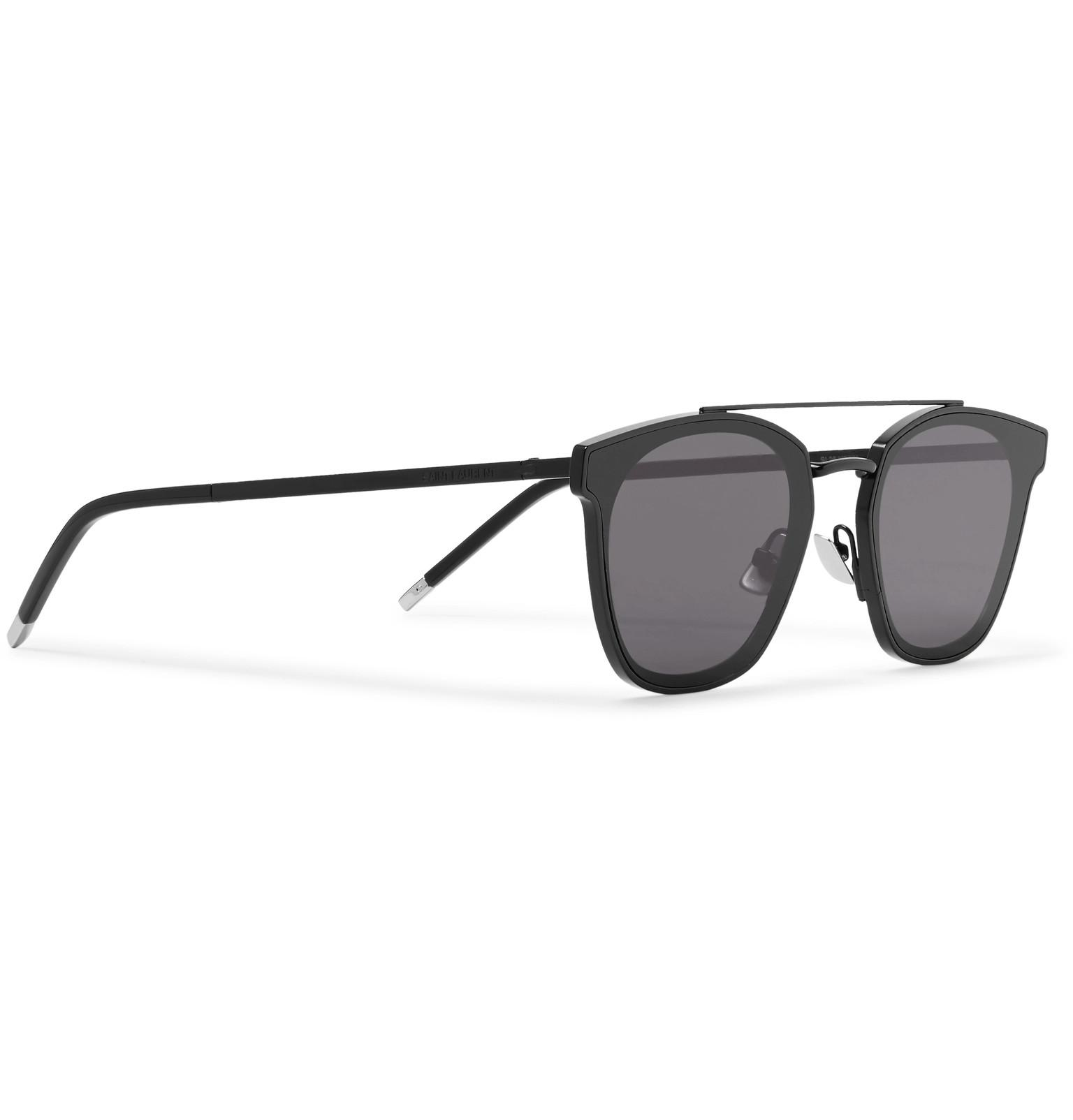 680776b665 Saint Laurent - Black Aviator-style Metal Sunglasses for Men - Lyst. View  fullscreen