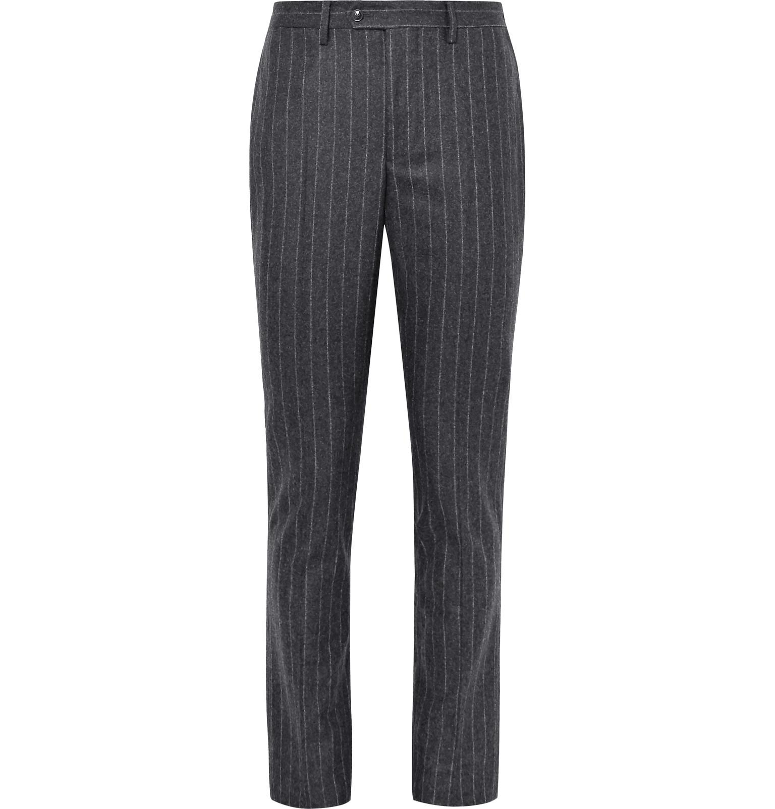Slim-fit Pinstriped Brushed Wool Trousers Officine Generale Cheap For Cheap ZhlHfo819M