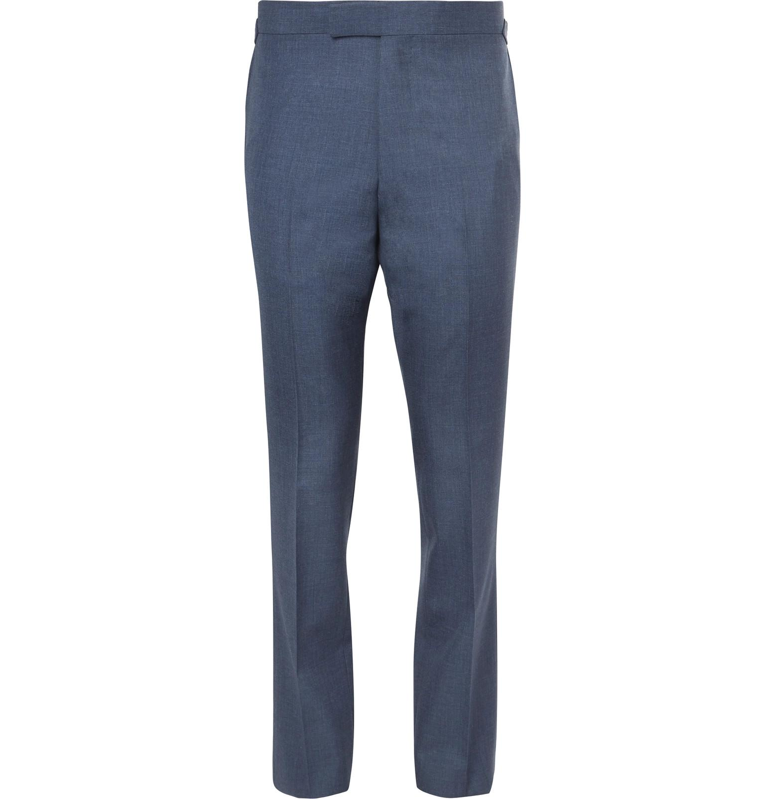Navy Slim-fit Grosgrain-trimmed Puppytooth Wool Suit Trousers CALVIN KLEIN 205W39NYC 9513tWh4