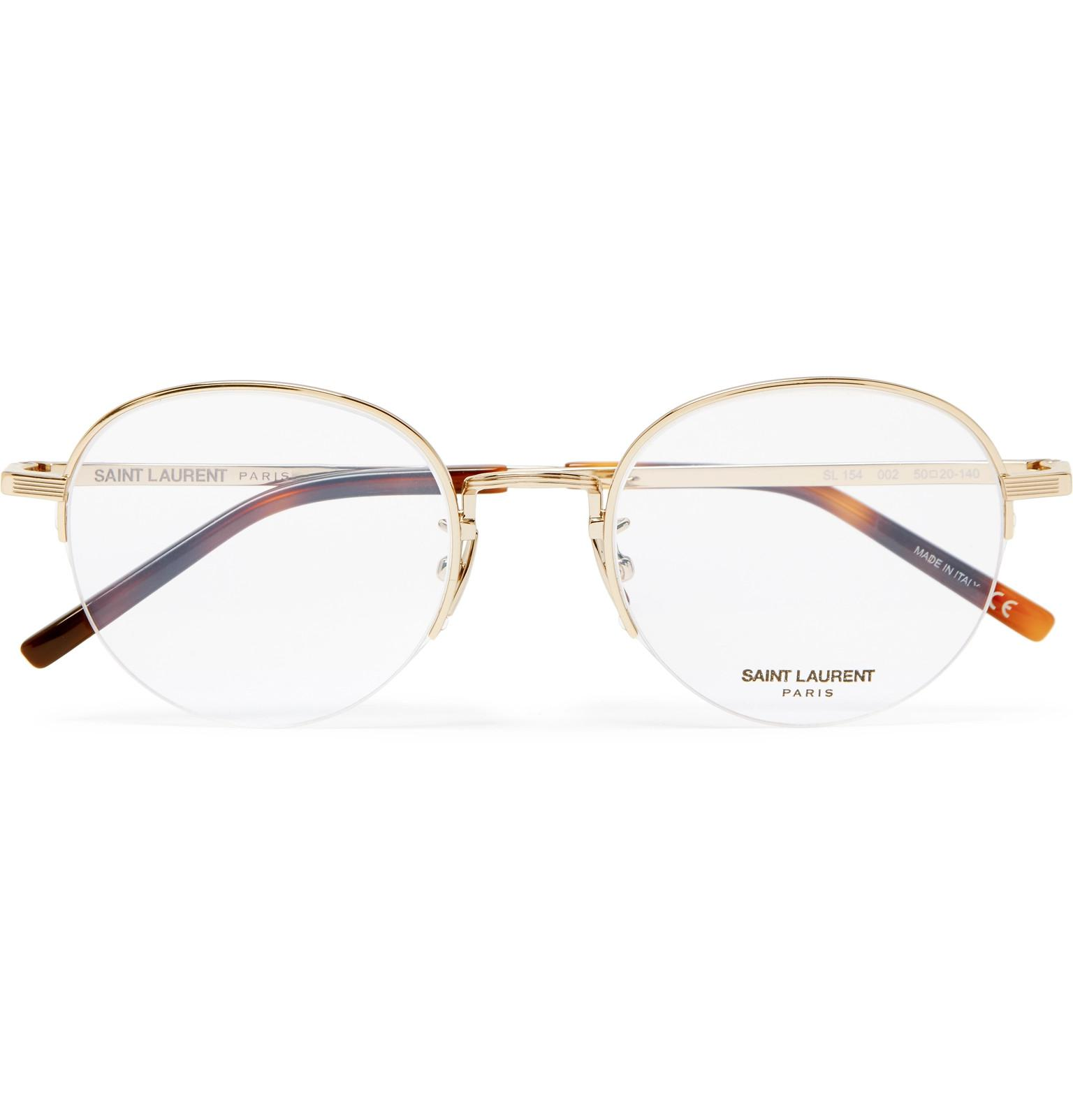 Lyst - Saint Laurent Round-frame Gold-tone Optical Glasses in ...