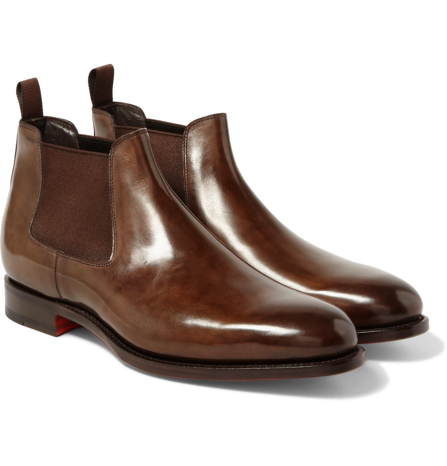 santoni polished leather chelsea boots in brown for men lyst. Black Bedroom Furniture Sets. Home Design Ideas