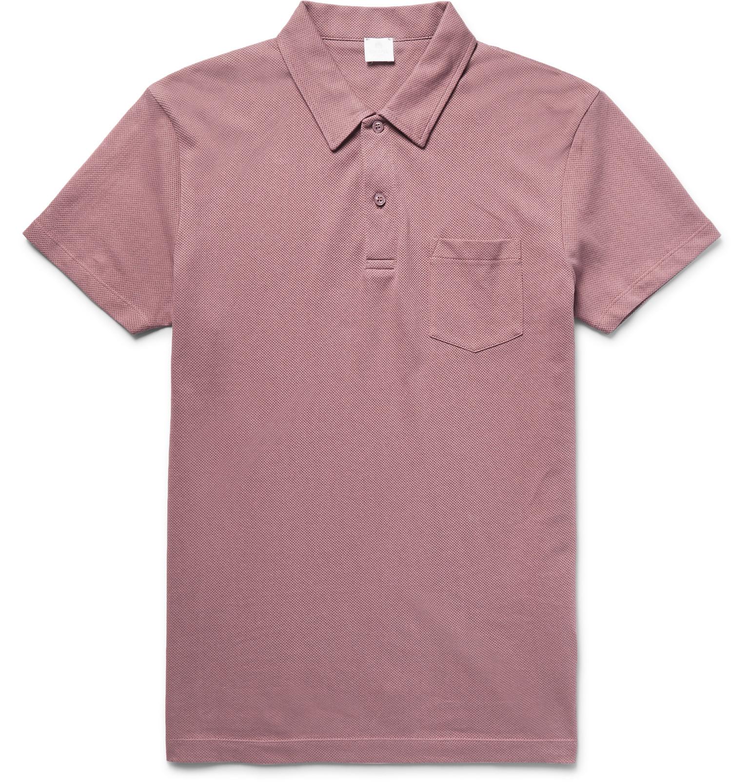 Sunspel riviera cotton mesh polo shirt for men lyst for Cotton polo shirts for men
