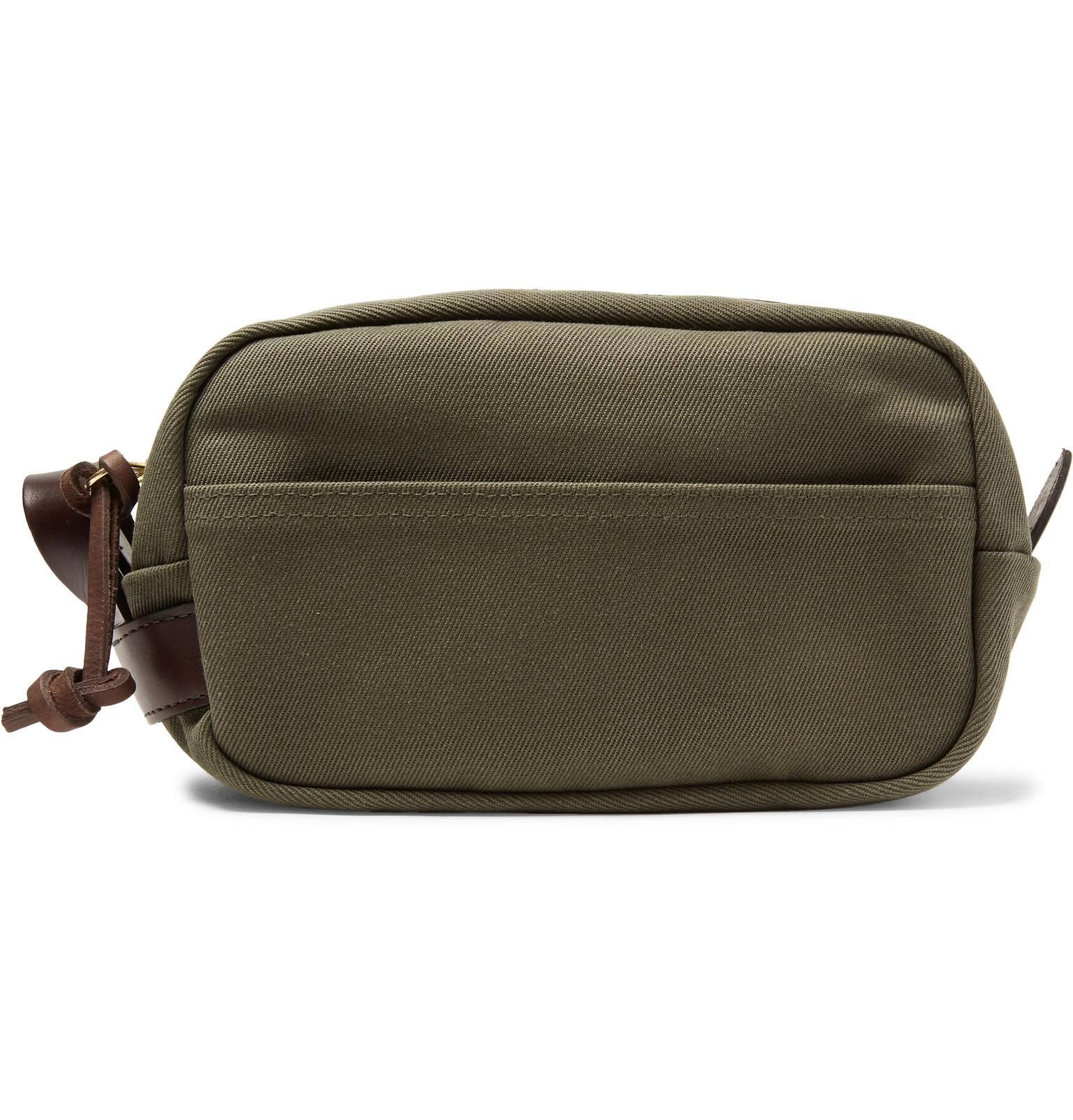 6a719a281e11 Filson Leather-trimmed Cotton-canvas Wash Bag in Green for Men ...