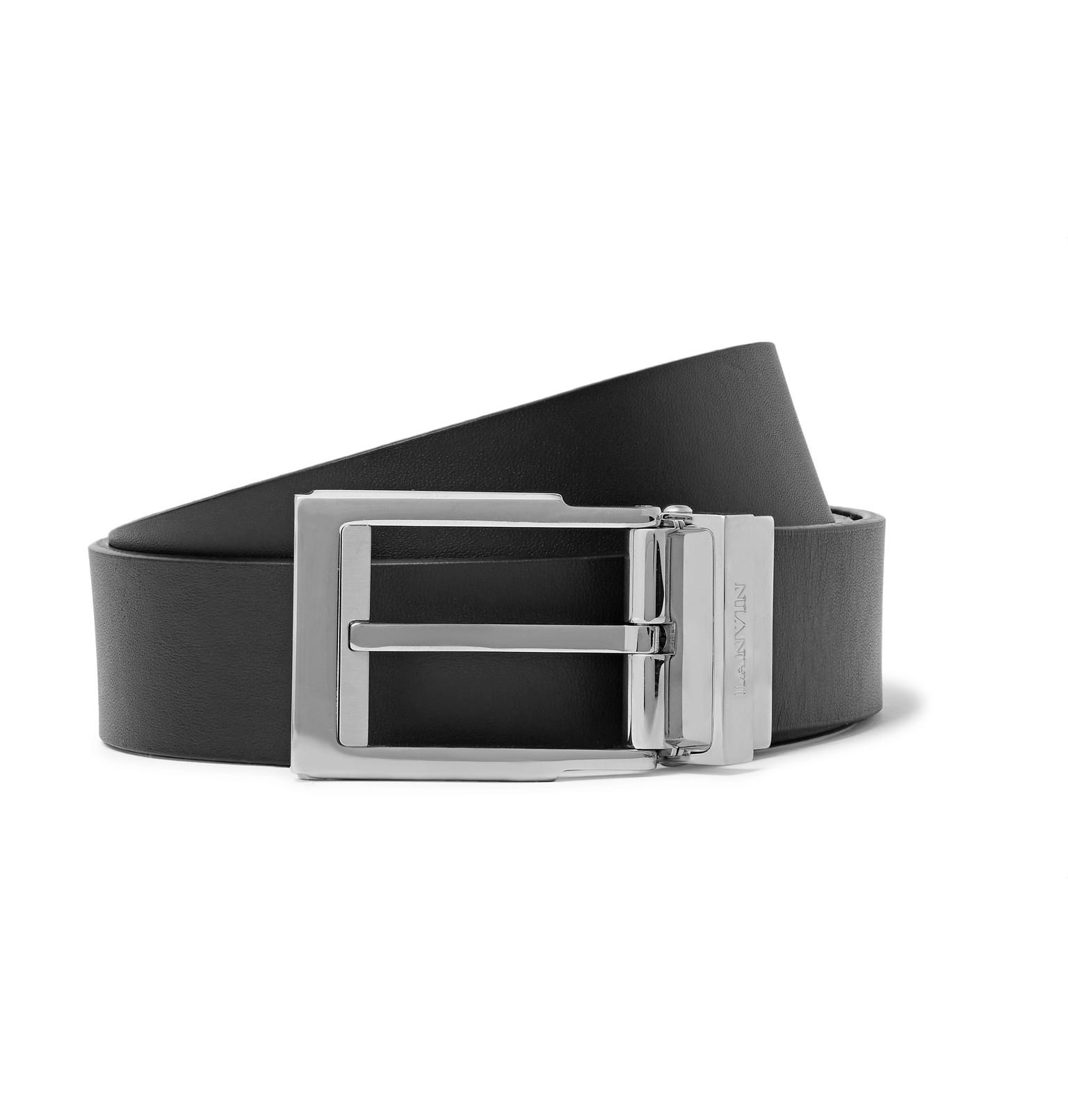 lanvin 3cm black and brown reversible leather belt in