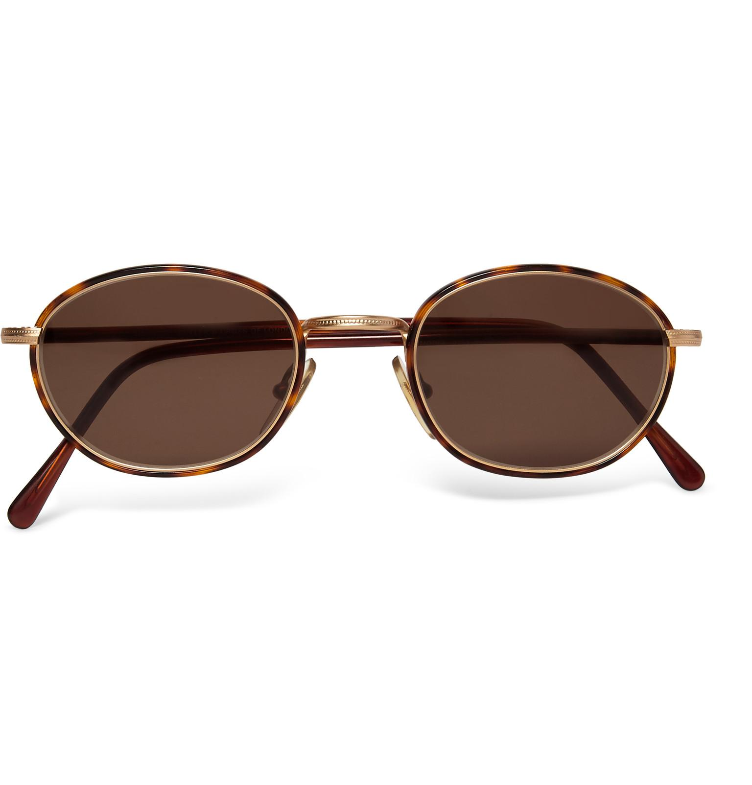 Men s Round Gold Frame Sunglasses : Cutler & gross 1995 Ltd Vintage Round-frame Acetate And ...