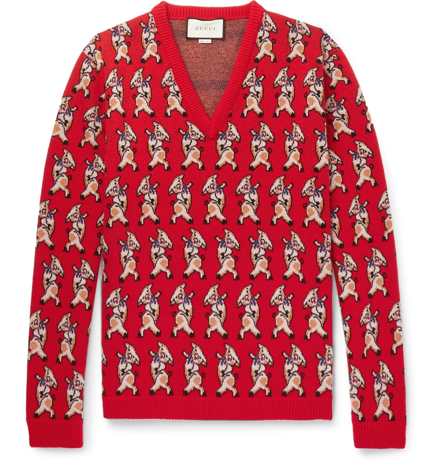 2fb5d2829f1c Gucci Dancing Pig-intarsia Wool Sweater in Red for Men - Save 46% - Lyst