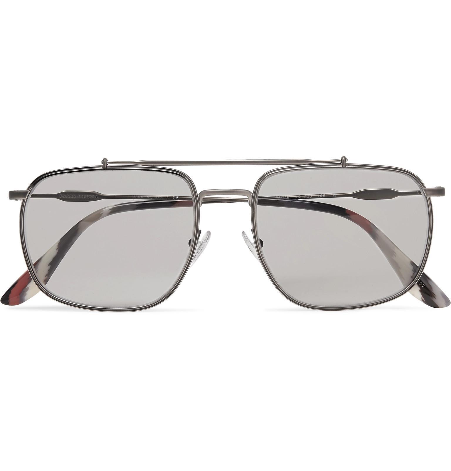 f70e9f8a16 Lyst - Prada Aviator-style Gunmetal-tone Sunglasses in Gray for Men