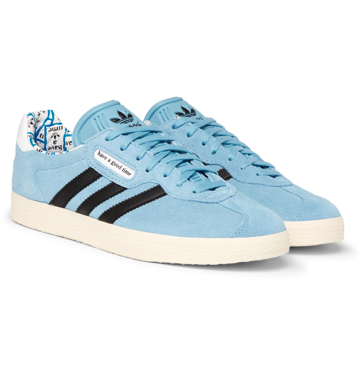 quality design f790d 4b490 adidas Originals. Mens Blue + Have A Good Time Gazelle Suede And Leather  Sneakers