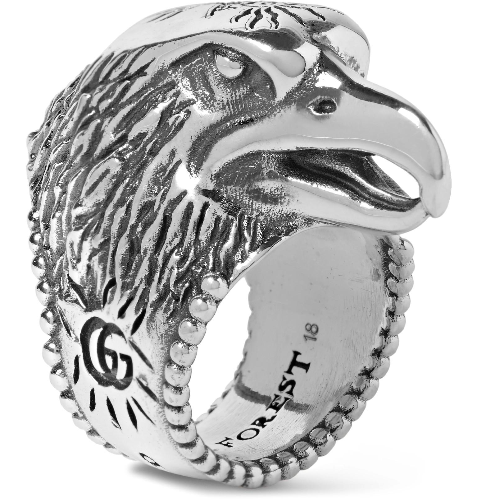 6c5264356 Gucci Eagle's Head Sterling Silver Ring in Metallic for Men - Lyst