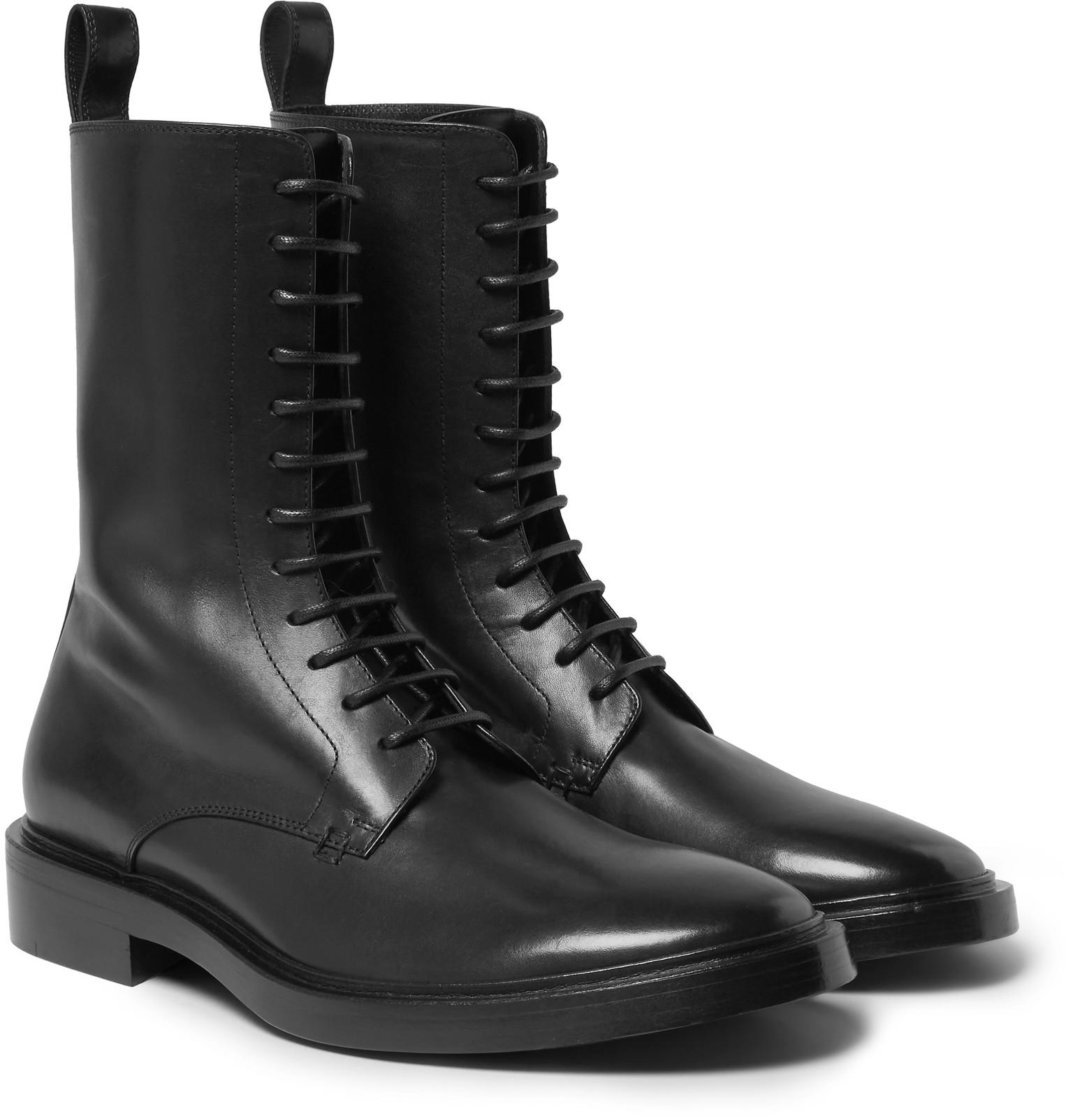 Balenciaga Leather Derby Combat Boots In Black For Men Lyst