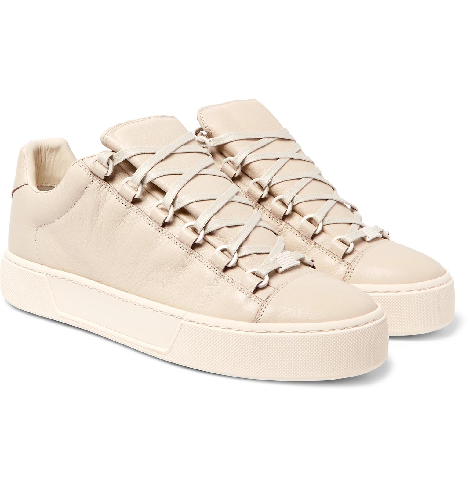lyst balenciaga arena full grain leather sneakers for men