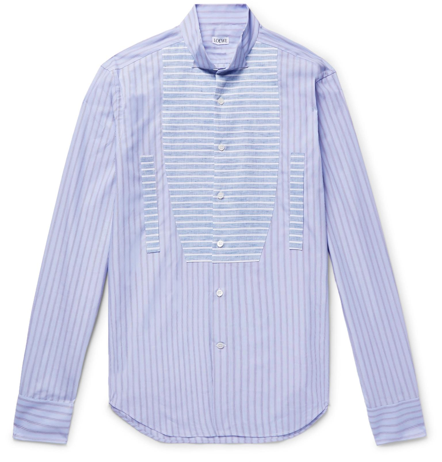 Lyst Loewe Slim Fit Wing Collar Linen And Cotton Poplin Shirt In