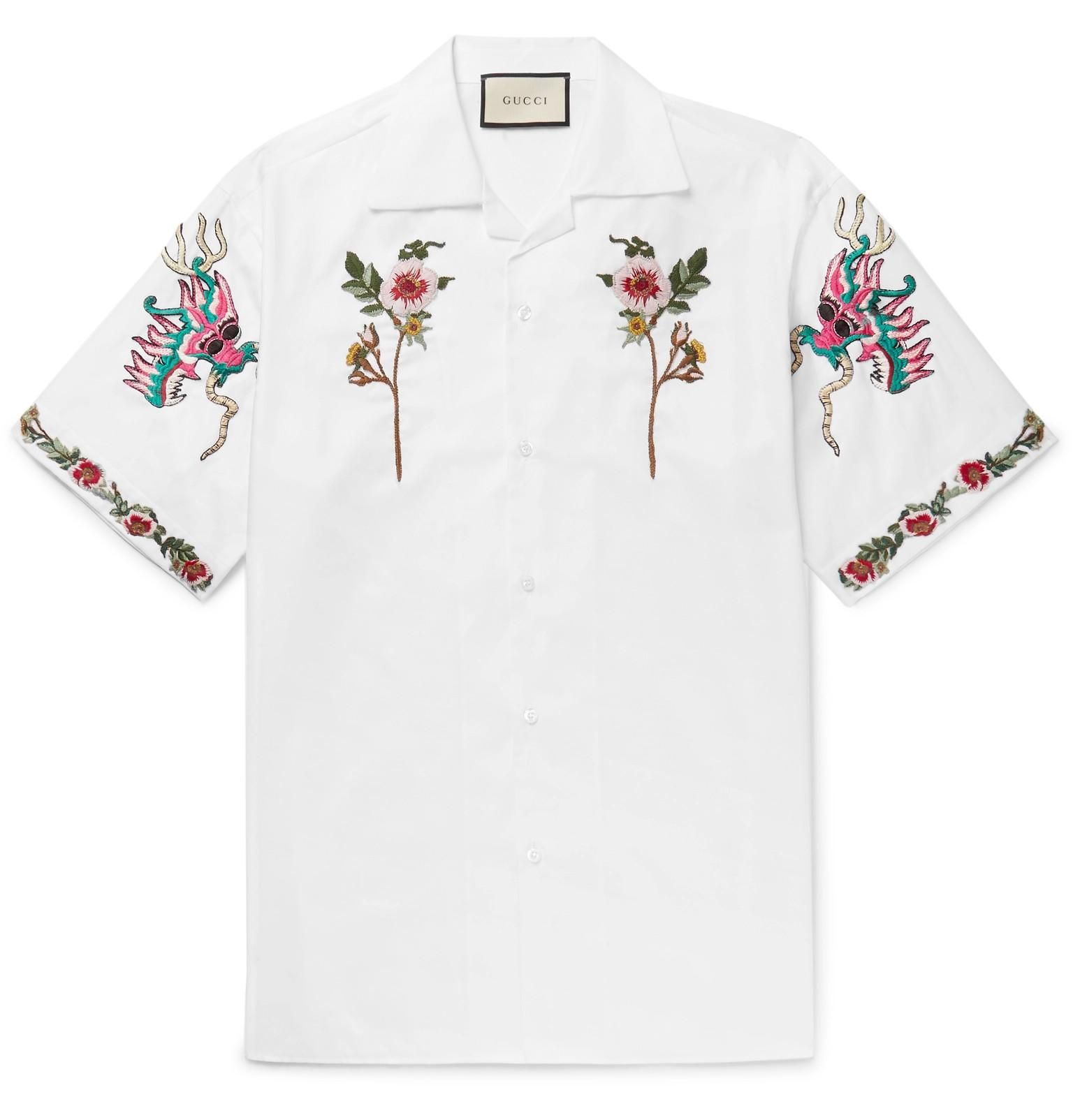 Gucci camp collar embroidered cotton oxford shirt in white