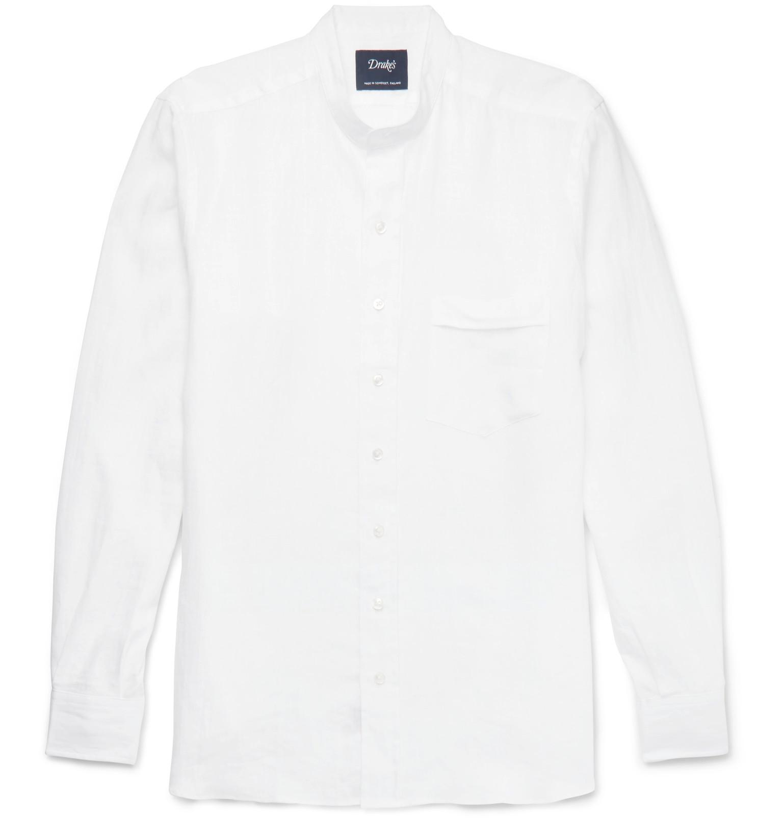 Drake 39 s slim fit grandad collar linen shirt in white for for Slim fit white linen shirt