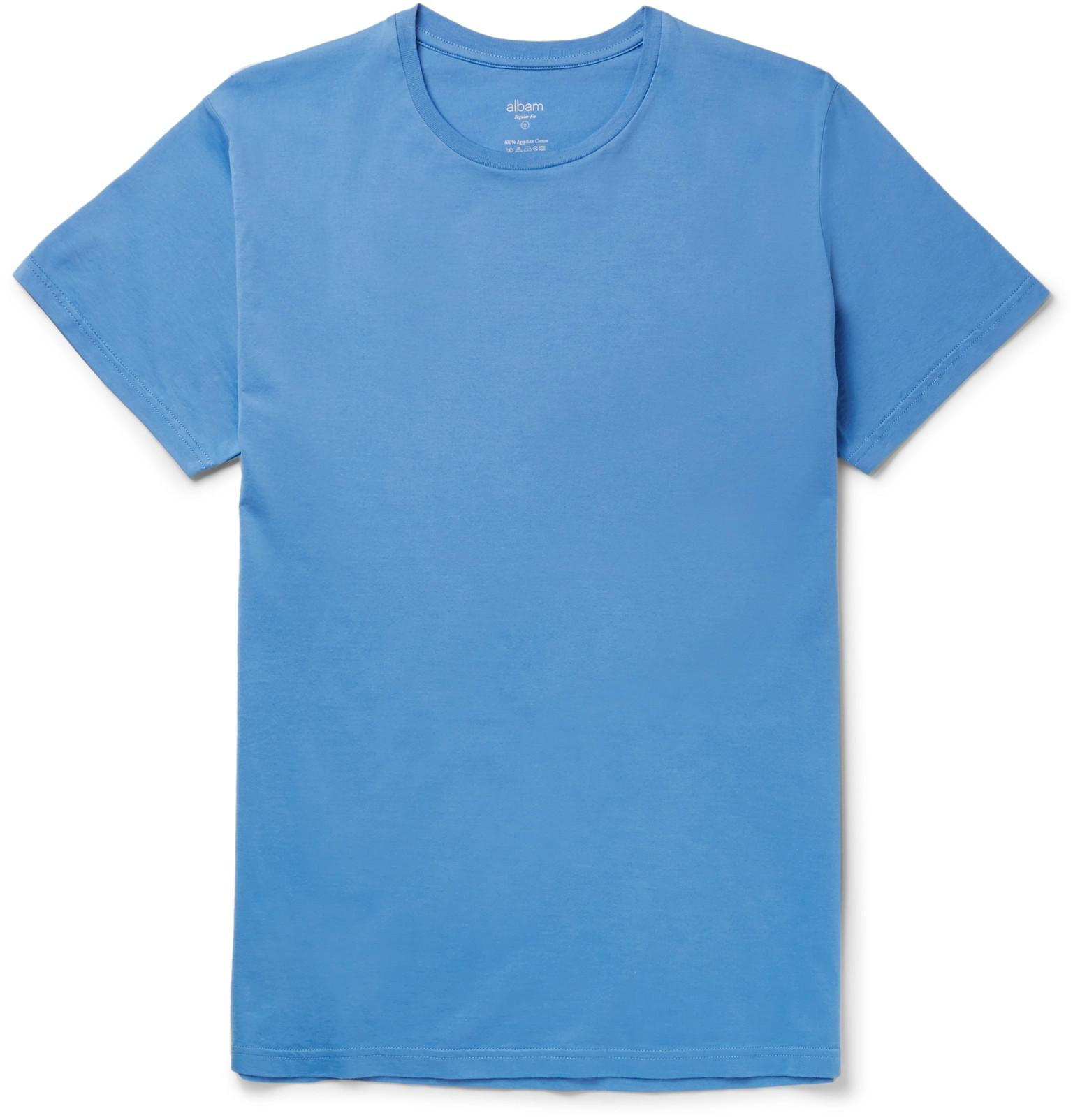 Albam egyptian cotton jersey t shirt in blue for men lyst for Mens egyptian cotton dress shirts