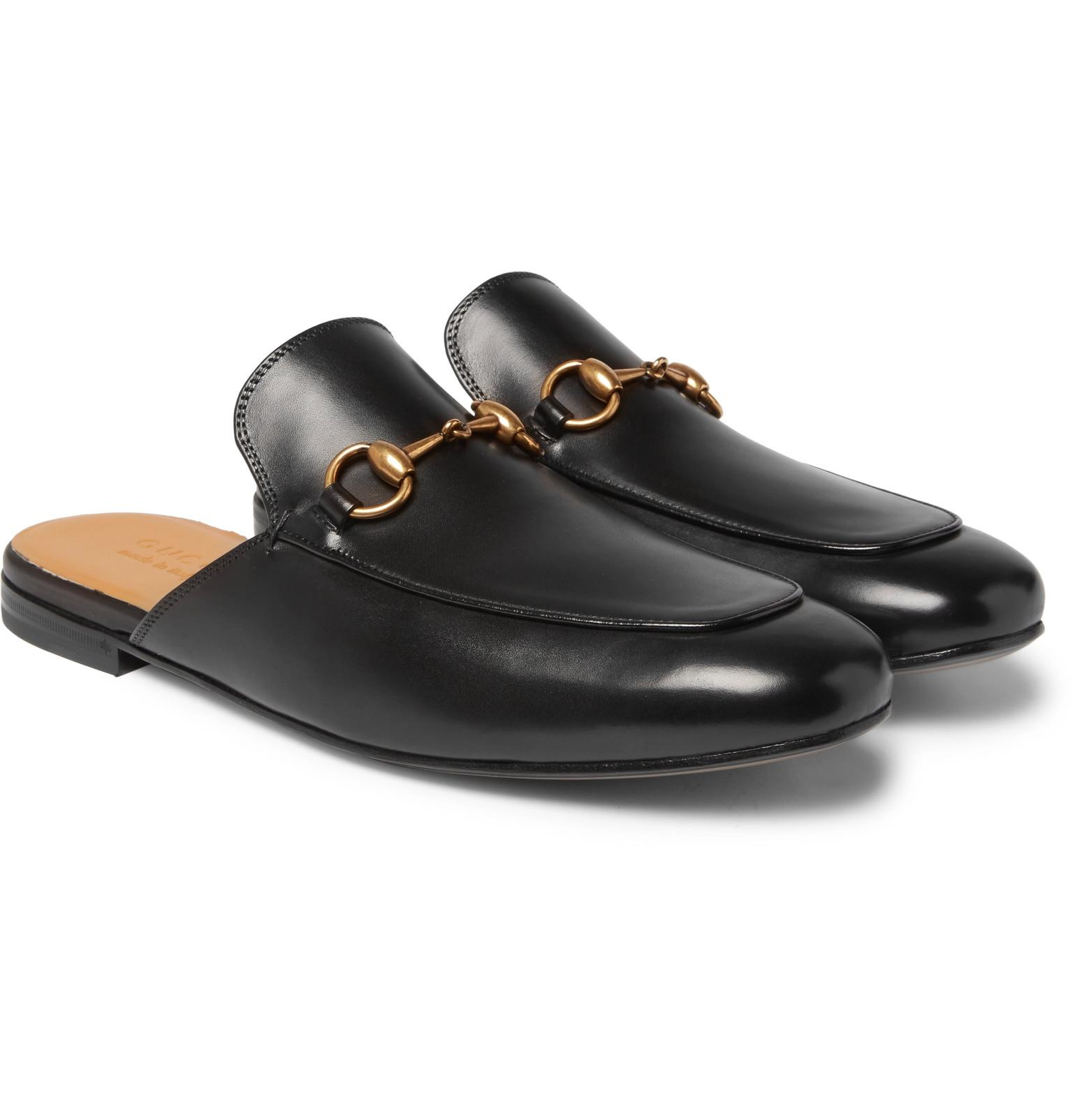8268133db5d Gucci Horsebit Leather Backless Loafers in Black for Men