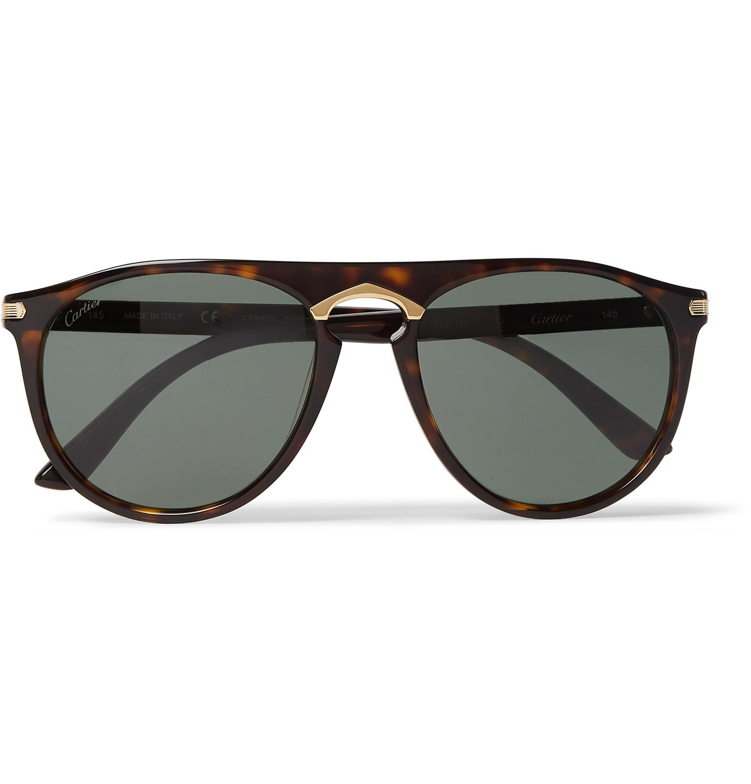 0239a88d6c Cartier. Men s Round-frame Tortoiseshell Acetate And Gold-tone Polarised  Sunglasses