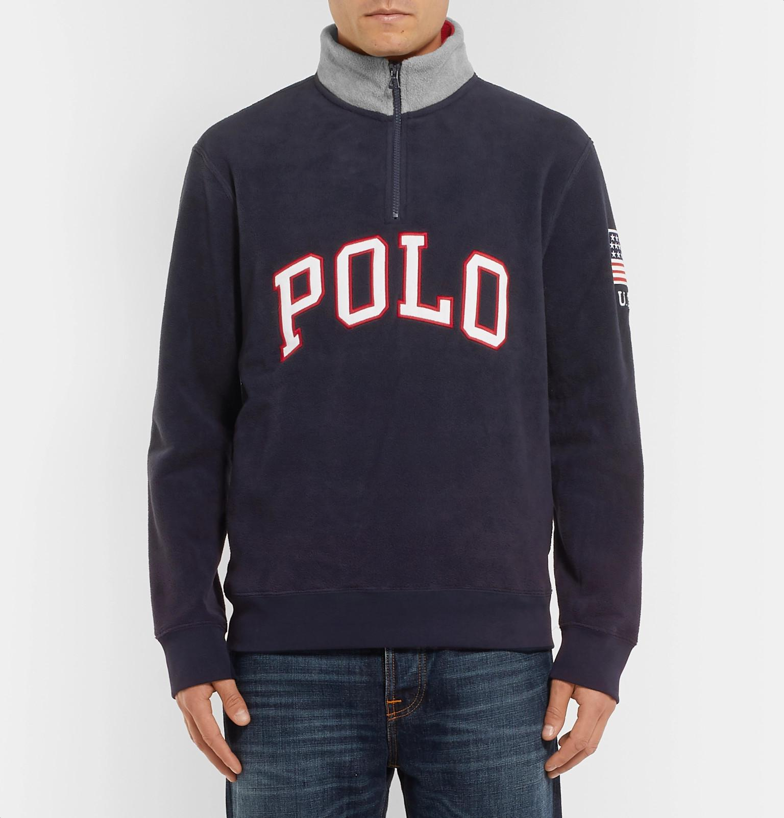 Polo Ralph Lauren - Blue Logo-appliquéd Fleece Half-zip Sweatshirt for Men  -. View fullscreen 06f8e3f1e88