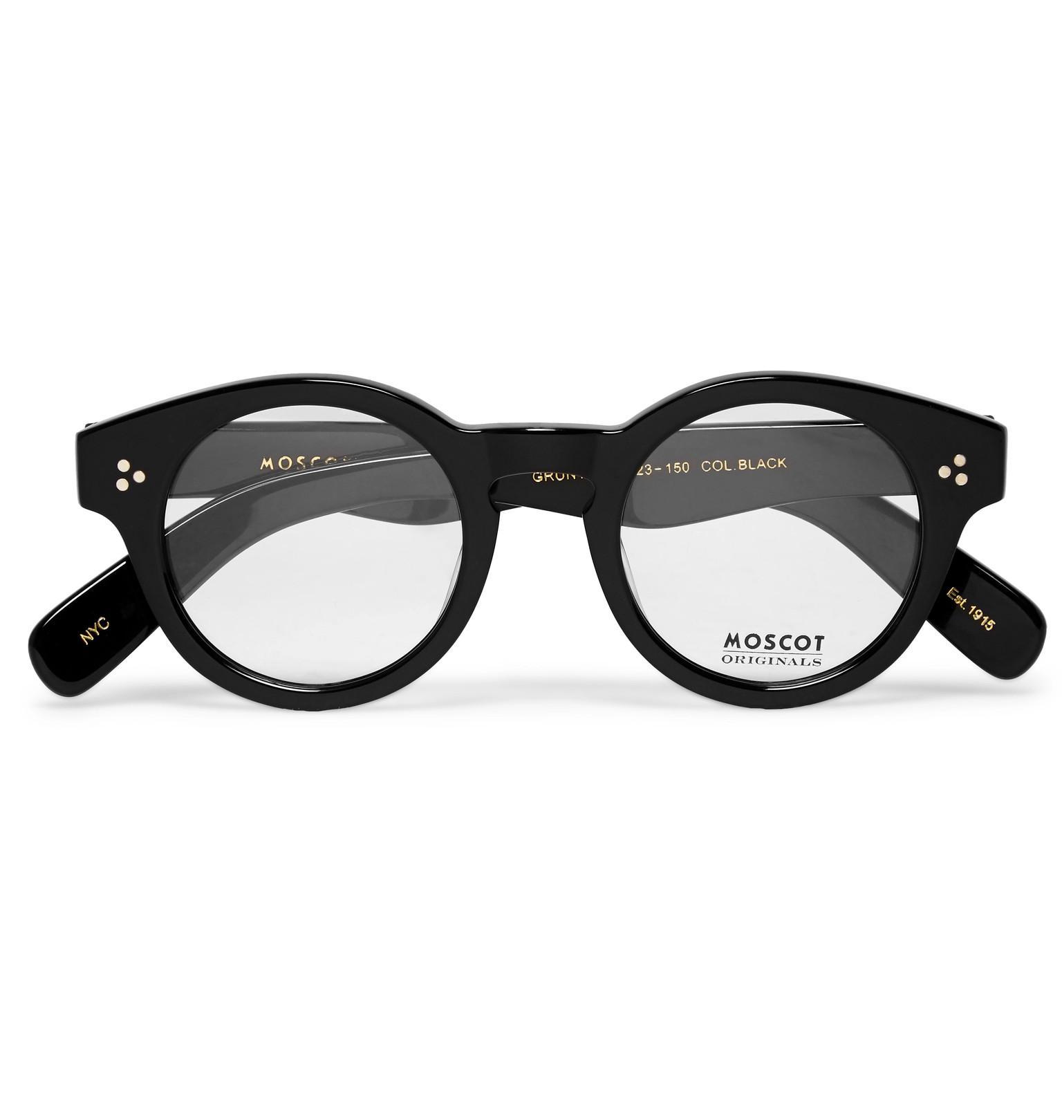 20e10f3a441e Moscot Grunya Round-frame Acetate Optical Glasses in Black for Men ...