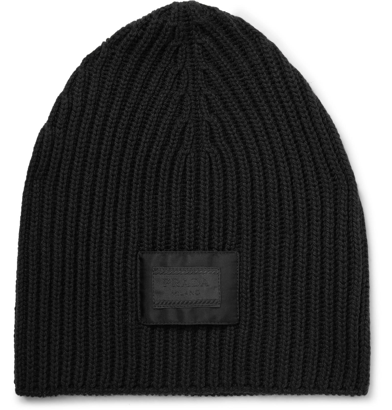 f5b0b2fe0338cb Lyst - Prada Logo-appliquéd Ribbed Virgin Wool Beanie in Black for Men