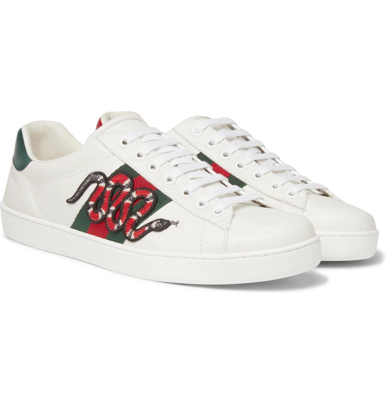 e84331ec166 Gucci Ace Snake-appliquéd Leather Trainers in White for Men - Save ...
