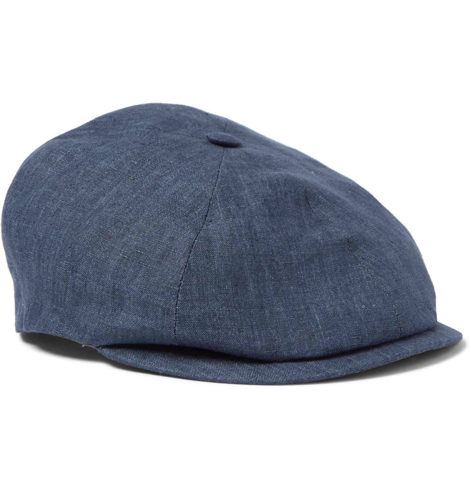 92bf142d736 Lyst - Lock   Co. Linen Flat Cap in Blue for Men