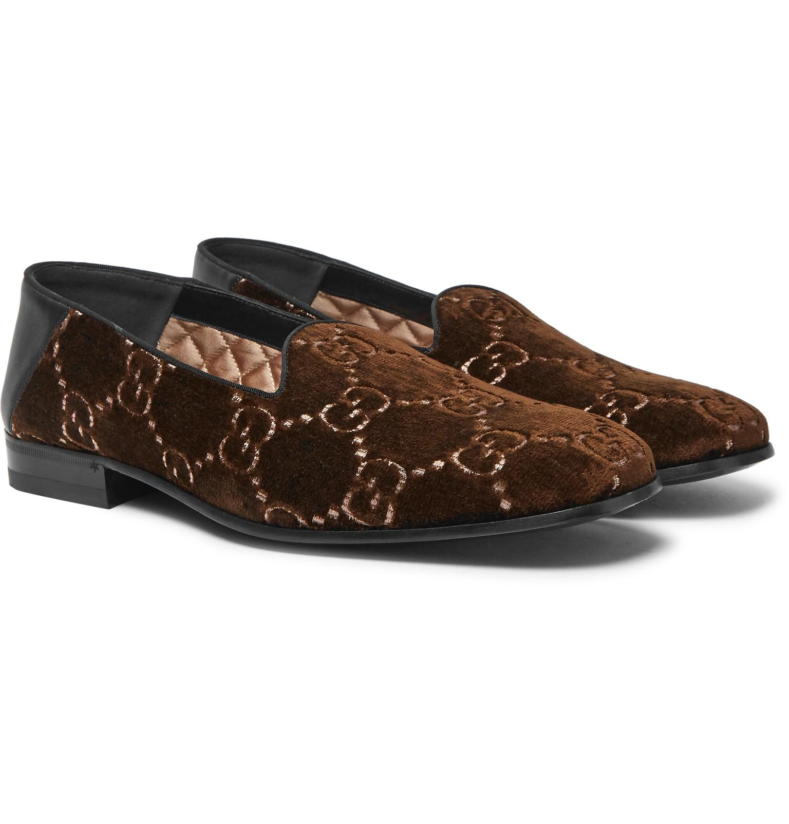 69d6ed630 Gucci. Men's Brown Gallipoli Collapsible-heel Leather-trimmed Embroidered  Velvet Loafers