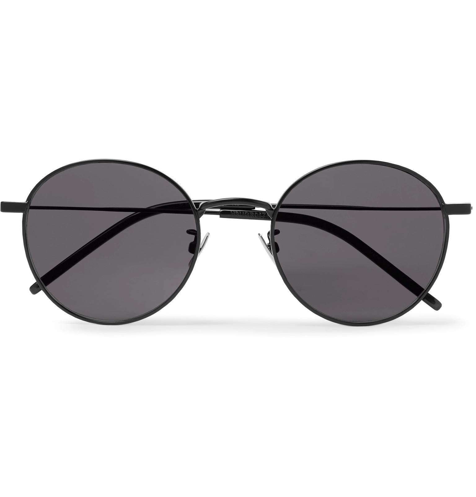 e270f192fa05 Saint Laurent Round-frame Metal Sunglasses in Black for Men - Lyst