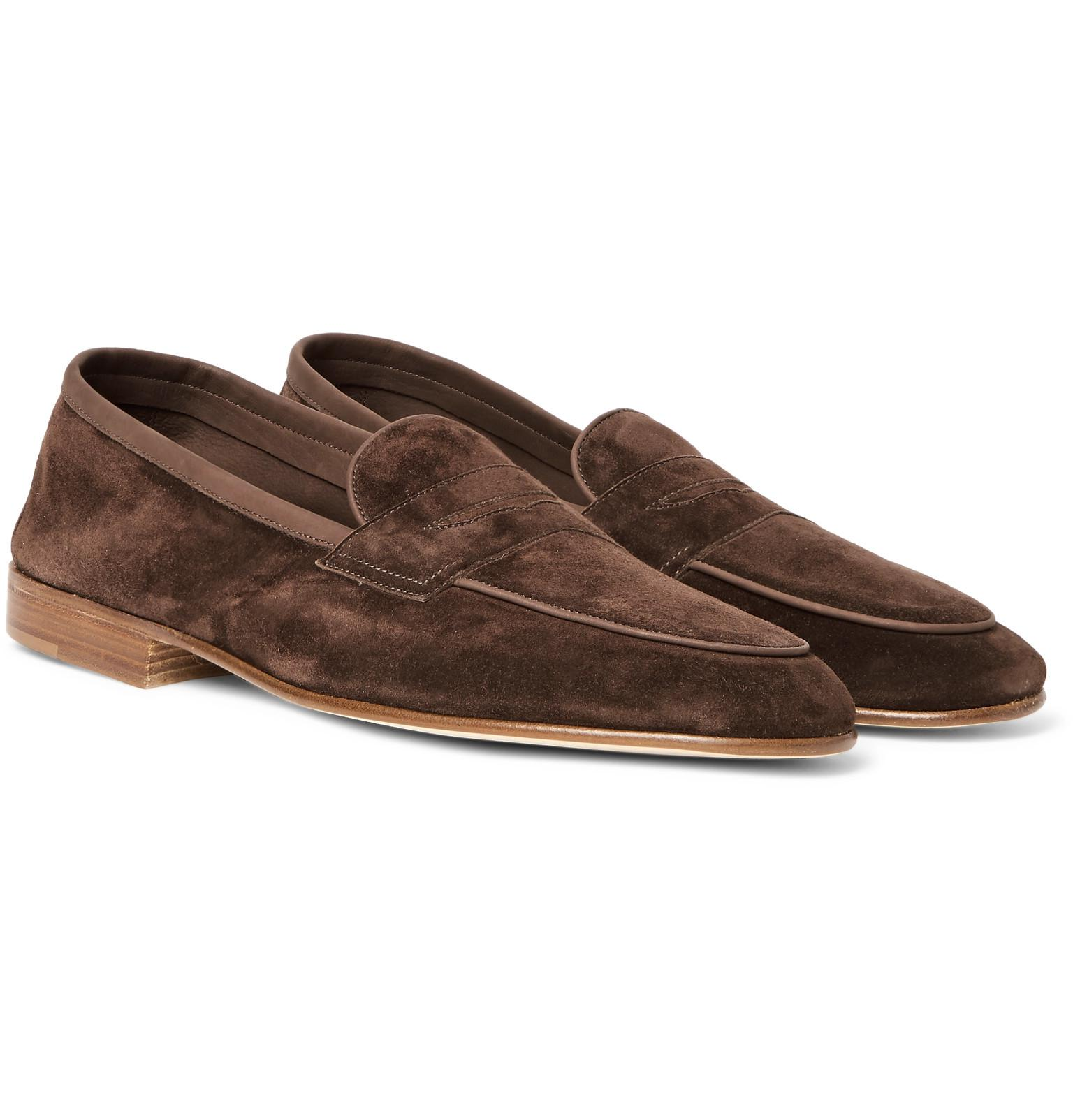 e34f2537fa2 Edward Green Polperro Nubuck-trimmed Suede Penny Loafers in Brown ...