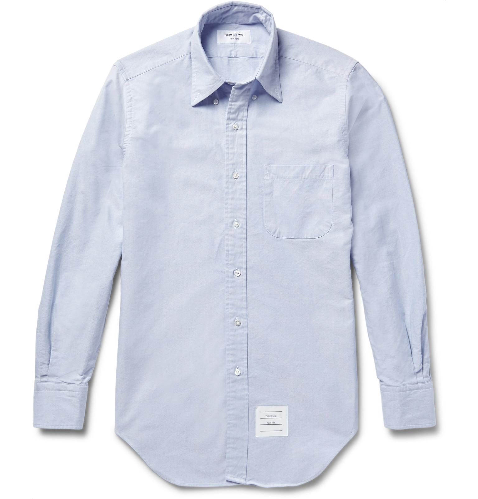 1765943de592 Thom Browne Slim-fit Button-down Collar Cotton Oxford Shirt in Blue ...
