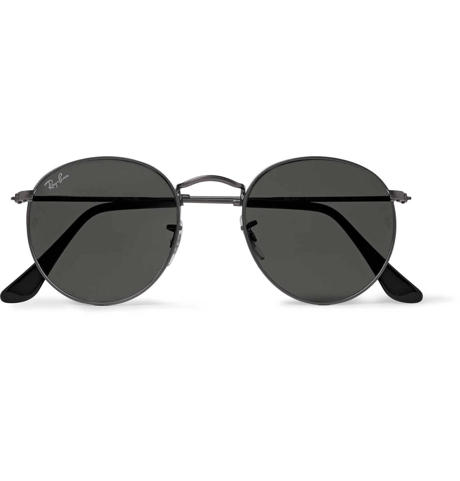 Ray Ban Round Frame Sunglasses : Ray-ban Round-frame Gunmetal-tone Sunglasses for Men Lyst