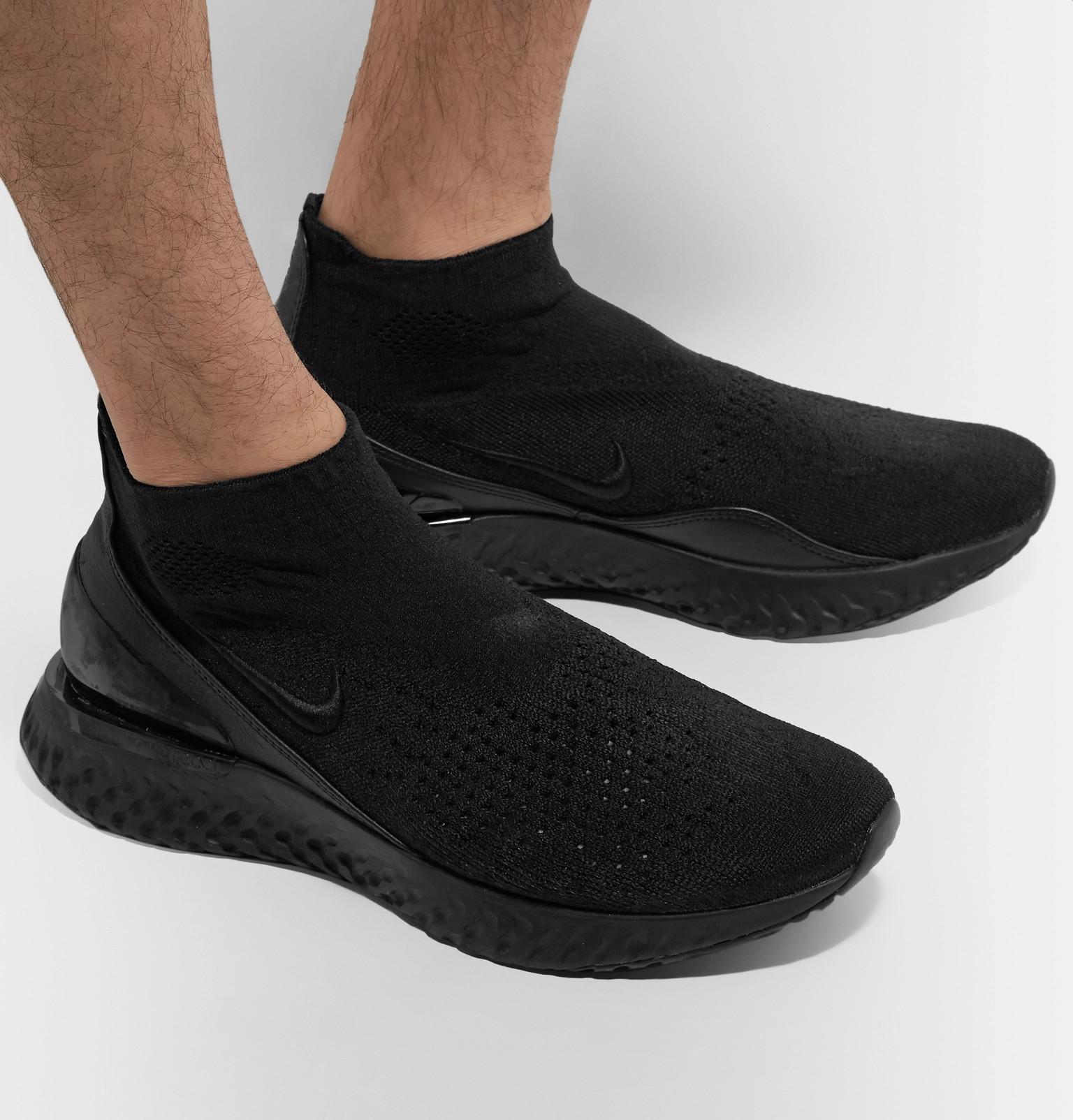 5346b9e8367cf Nike - Black Flyknit Rise React Sneakers for Men - Lyst. View fullscreen