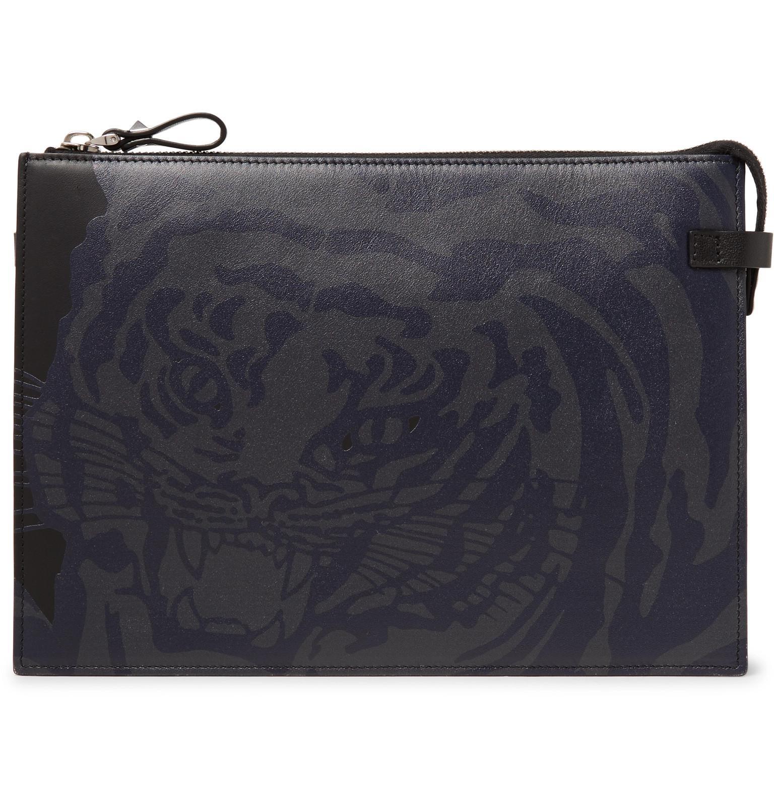 3e7b758a8b Valentino Garavani Tiger-print Leather Pouch in Black for Men - Lyst